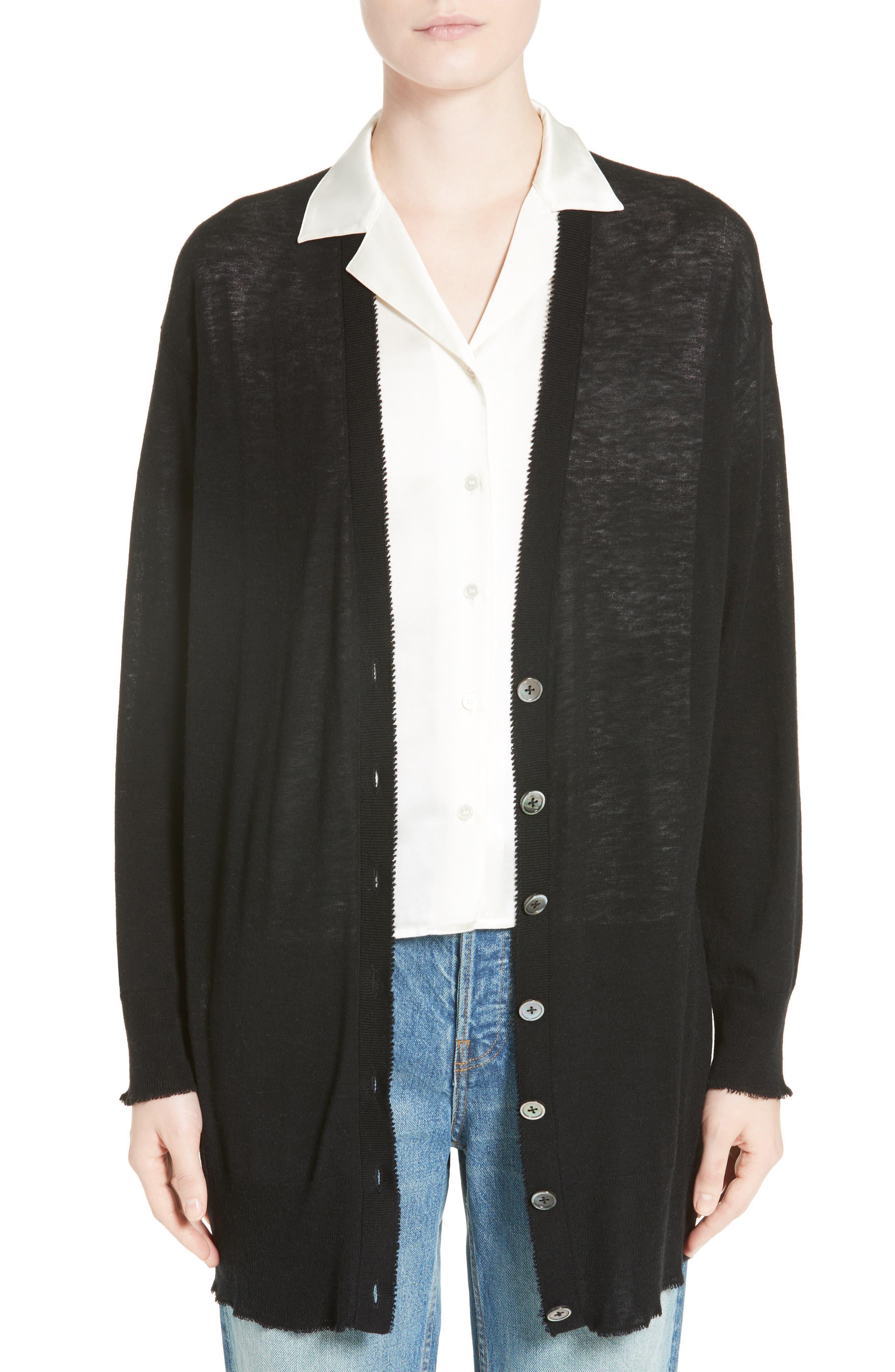 Wool Blend Gauze Long Cardigan,                         Main,                         color, Black