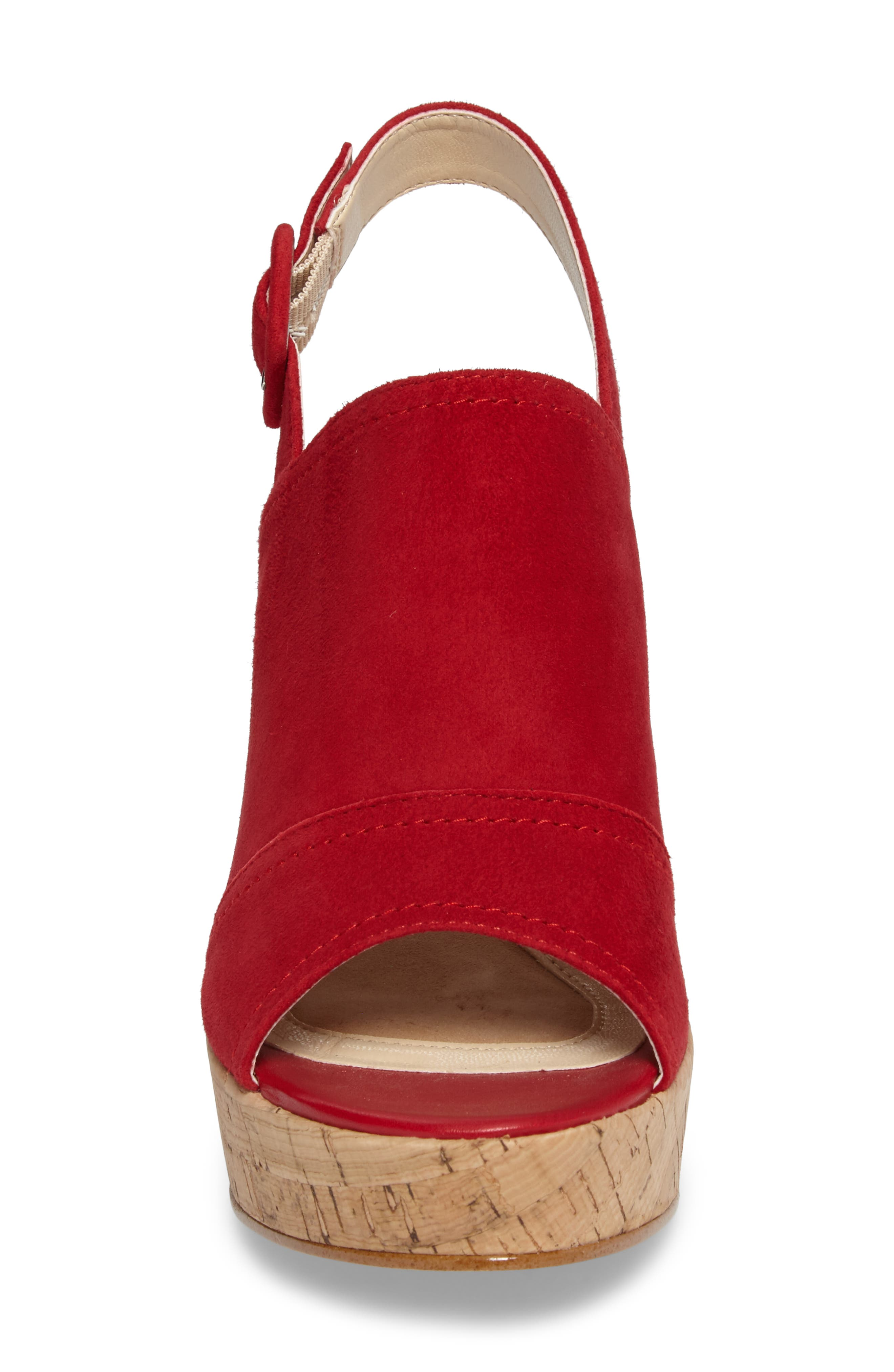 Gabriela Slingback Platform Sandal,                             Alternate thumbnail 4, color,                             Fire Red Suede