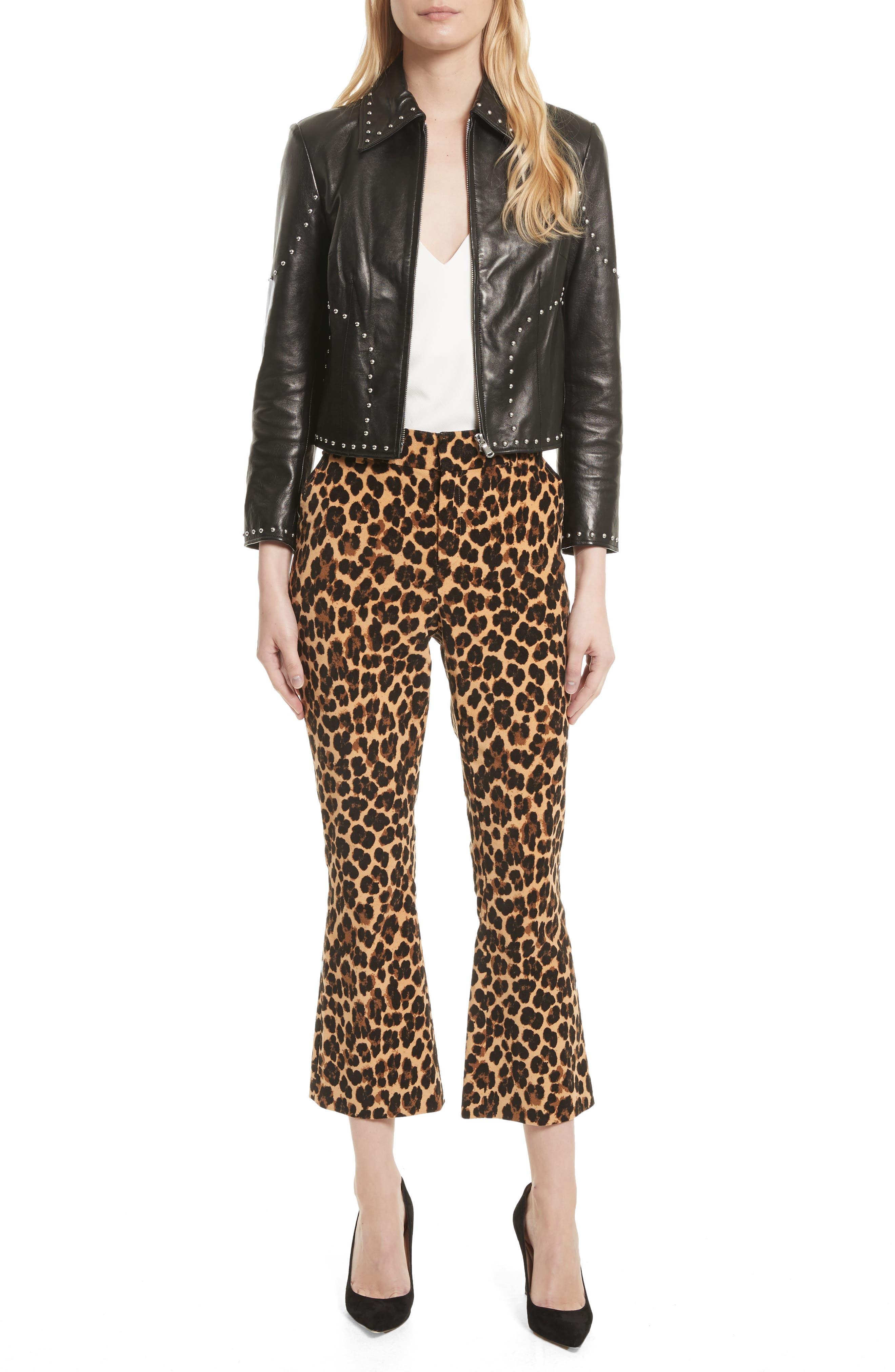 Alternate Image 2  - FRAME Cheetah Print Velvet Crop Flare Pants