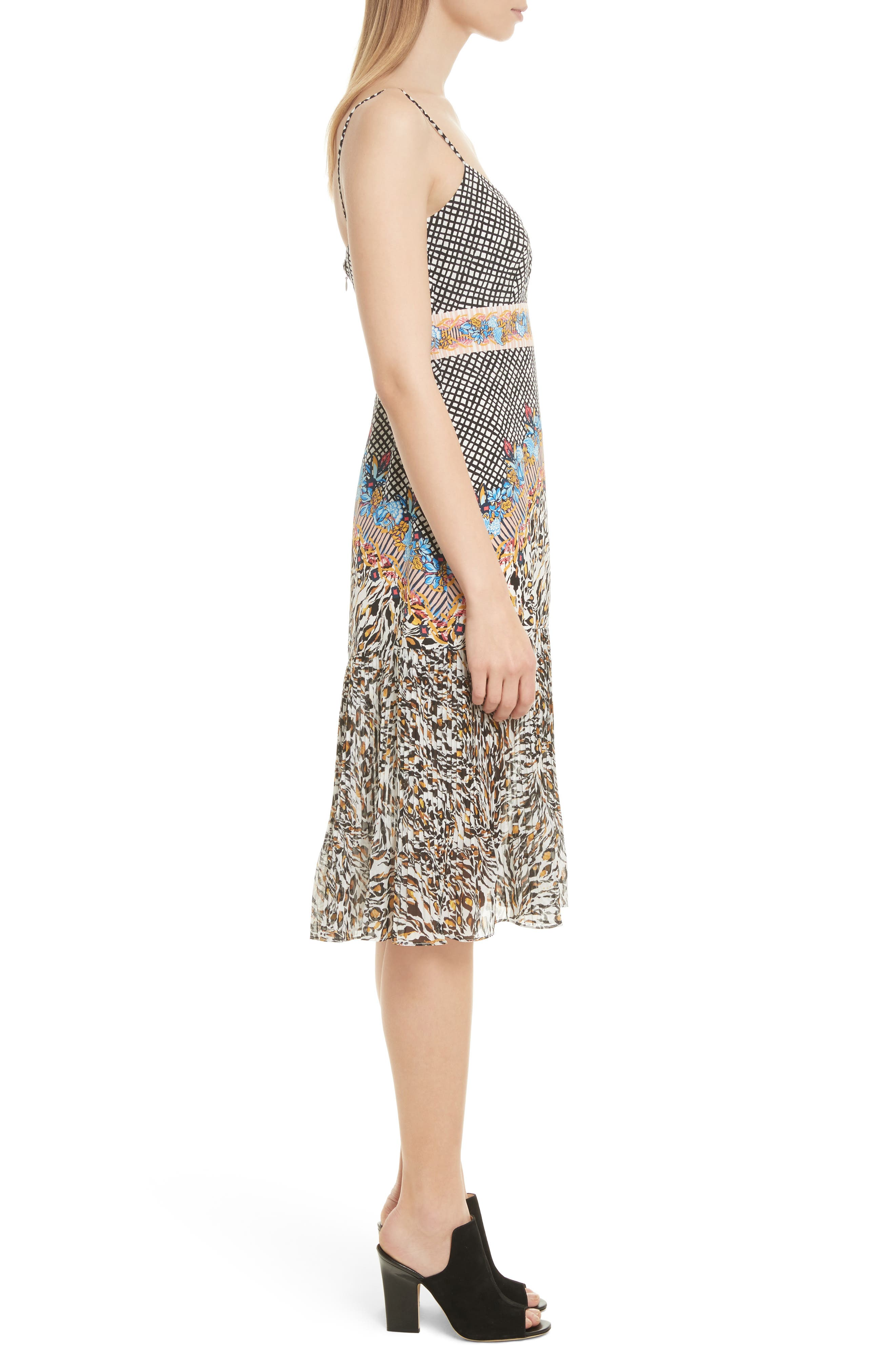 Veronica Print Silk Dress,                             Alternate thumbnail 3, color,                             Mustard Leopard