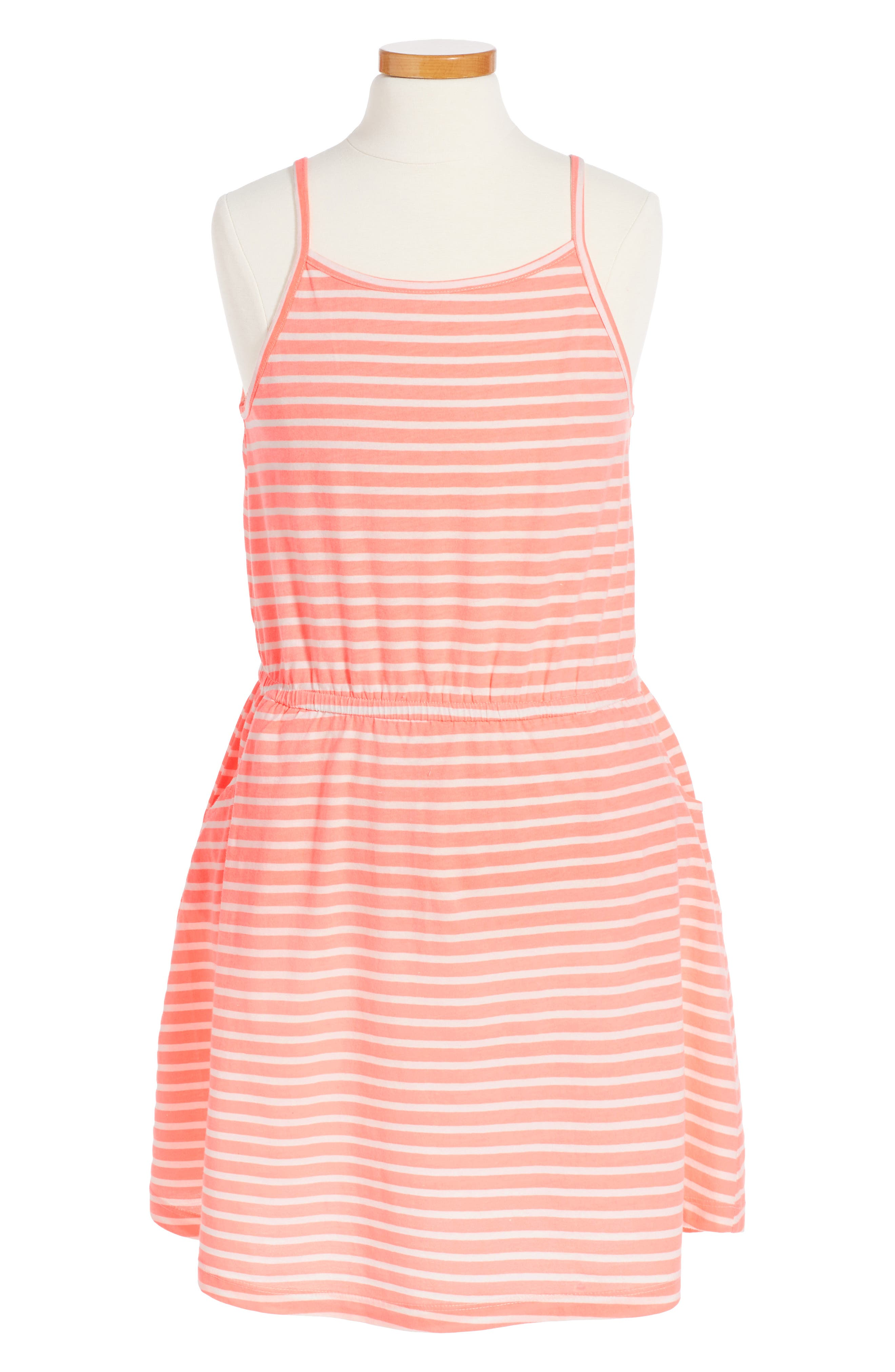 Jaden Stripe Dress,                         Main,                         color, Neon Coral