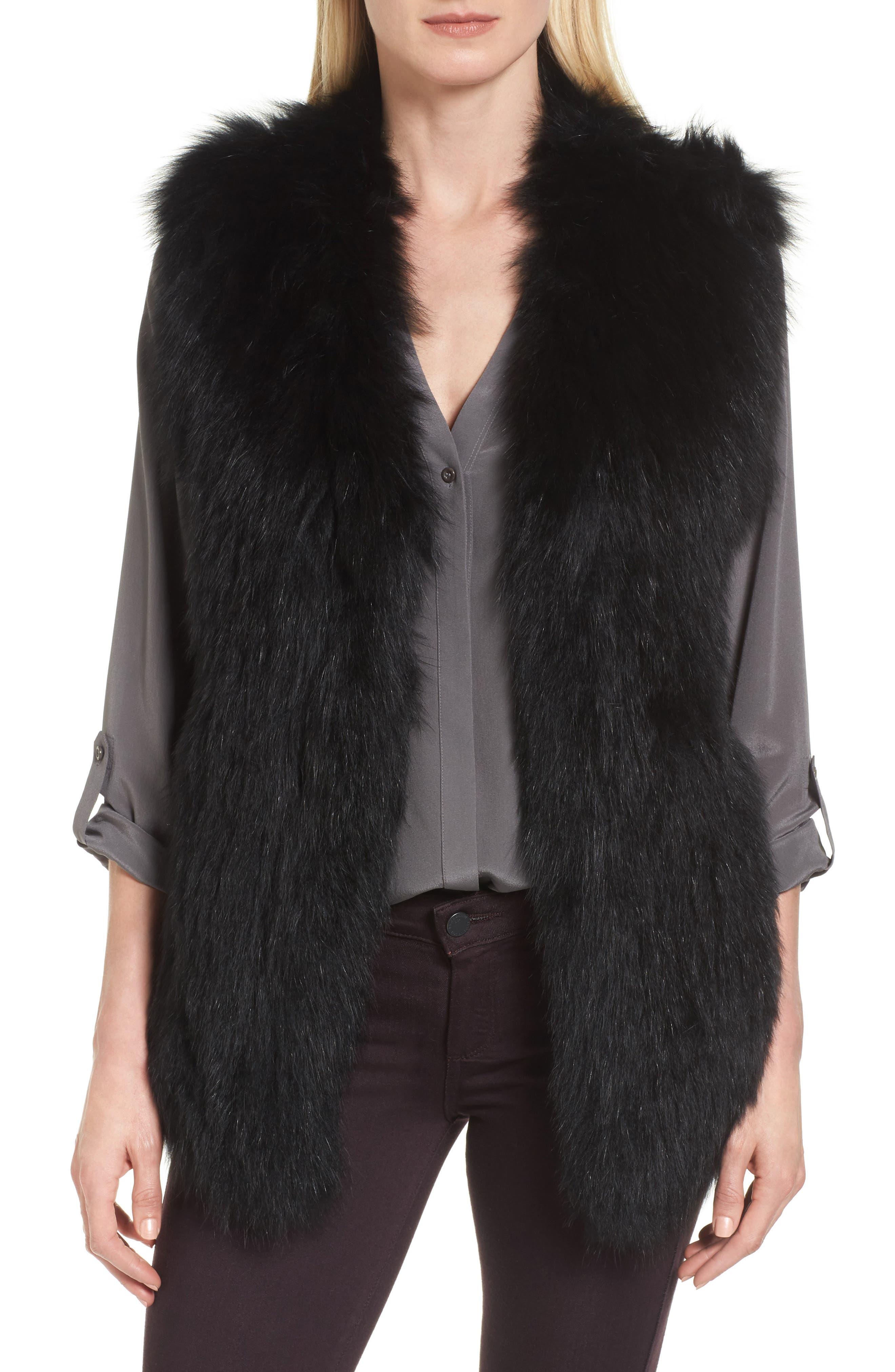 Genuine Fox Fur Vest,                         Main,                         color, Black