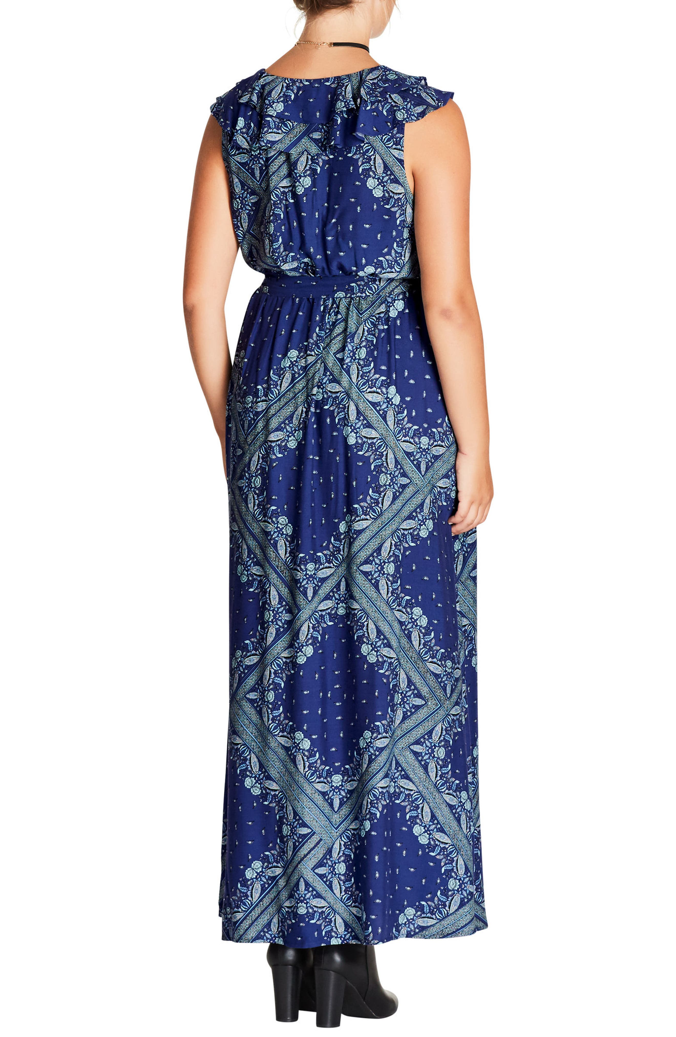 Alternate Image 2  - City Chic Patchwork Print Maxi Dress (Plus Size)