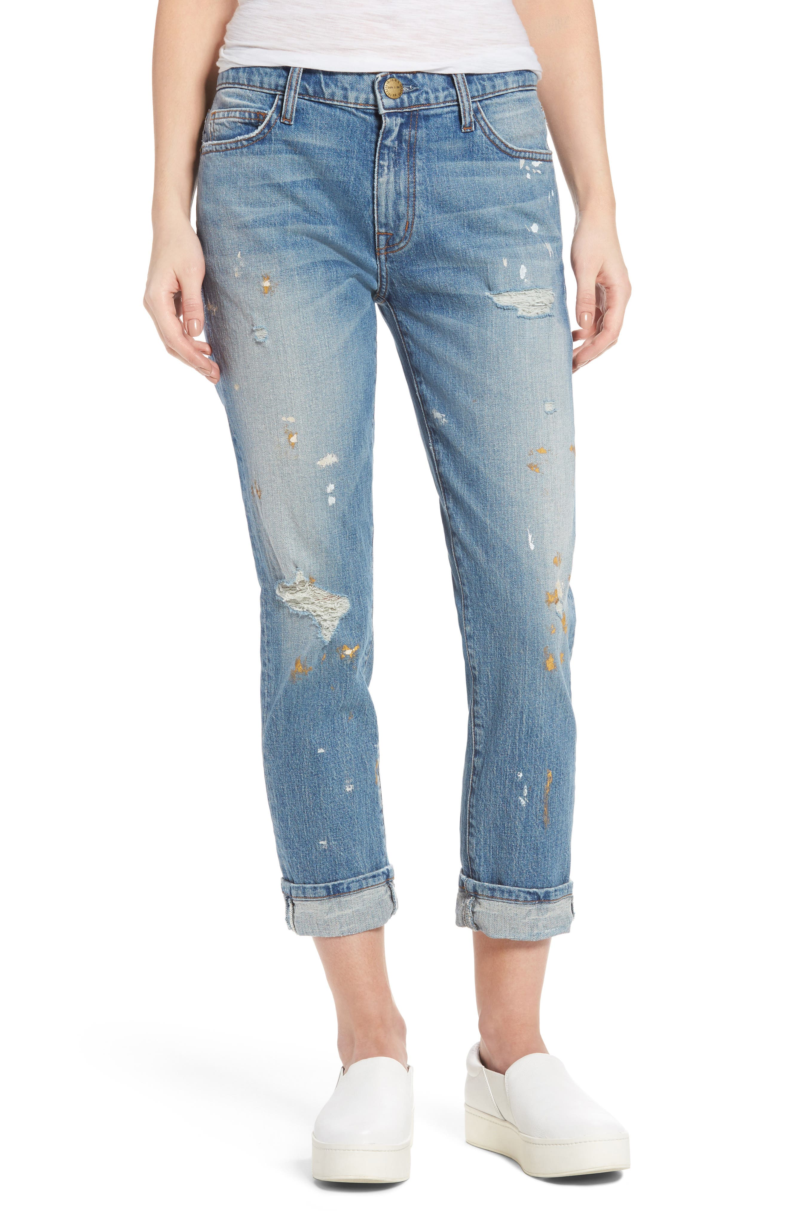 CURRENT/ELLIOTT Fling Distressed Rolled Jeans