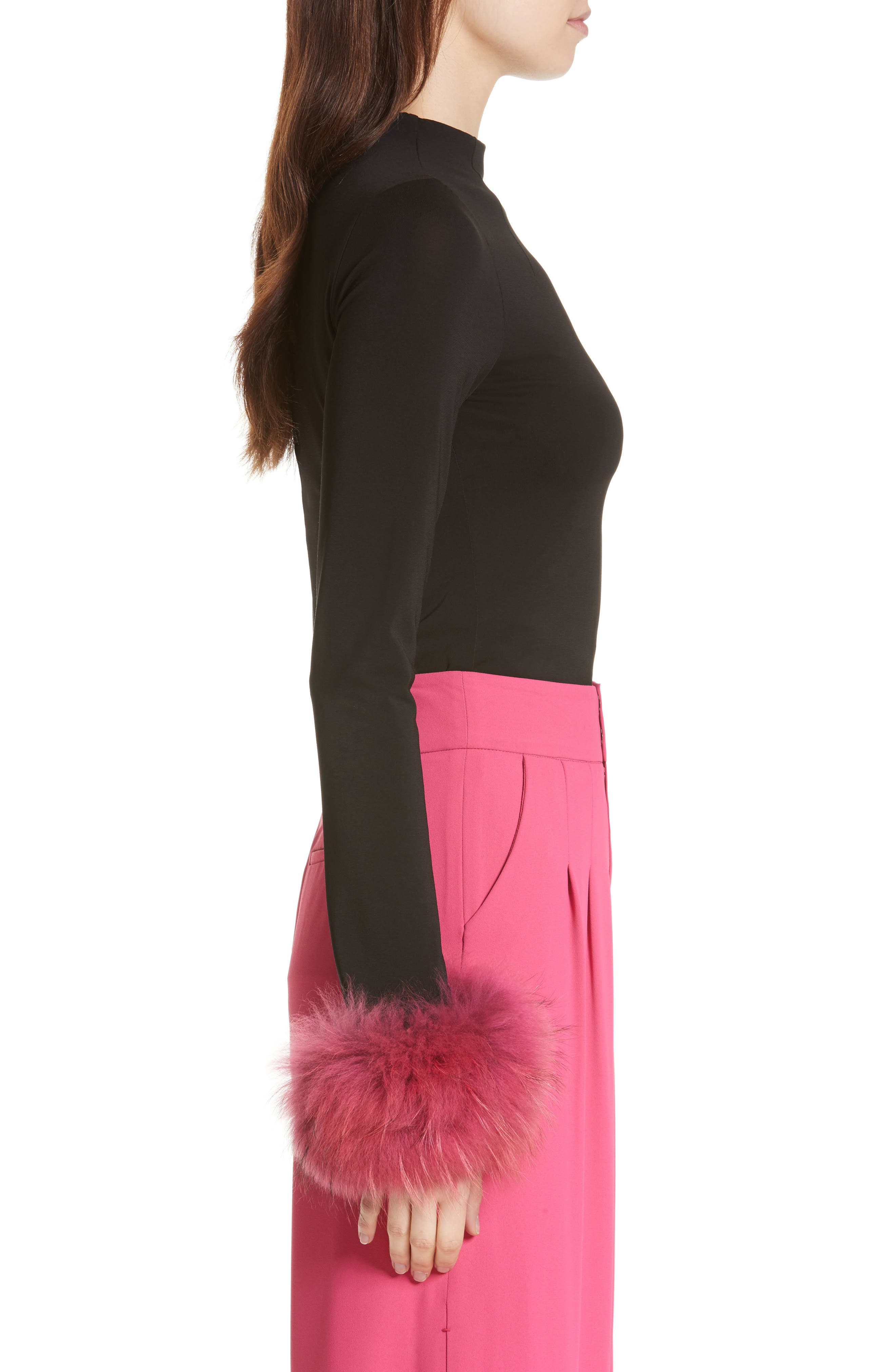 Alternate Image 4  - Alice + Olivia Haylen Genuine Fox Fur Cuff Top