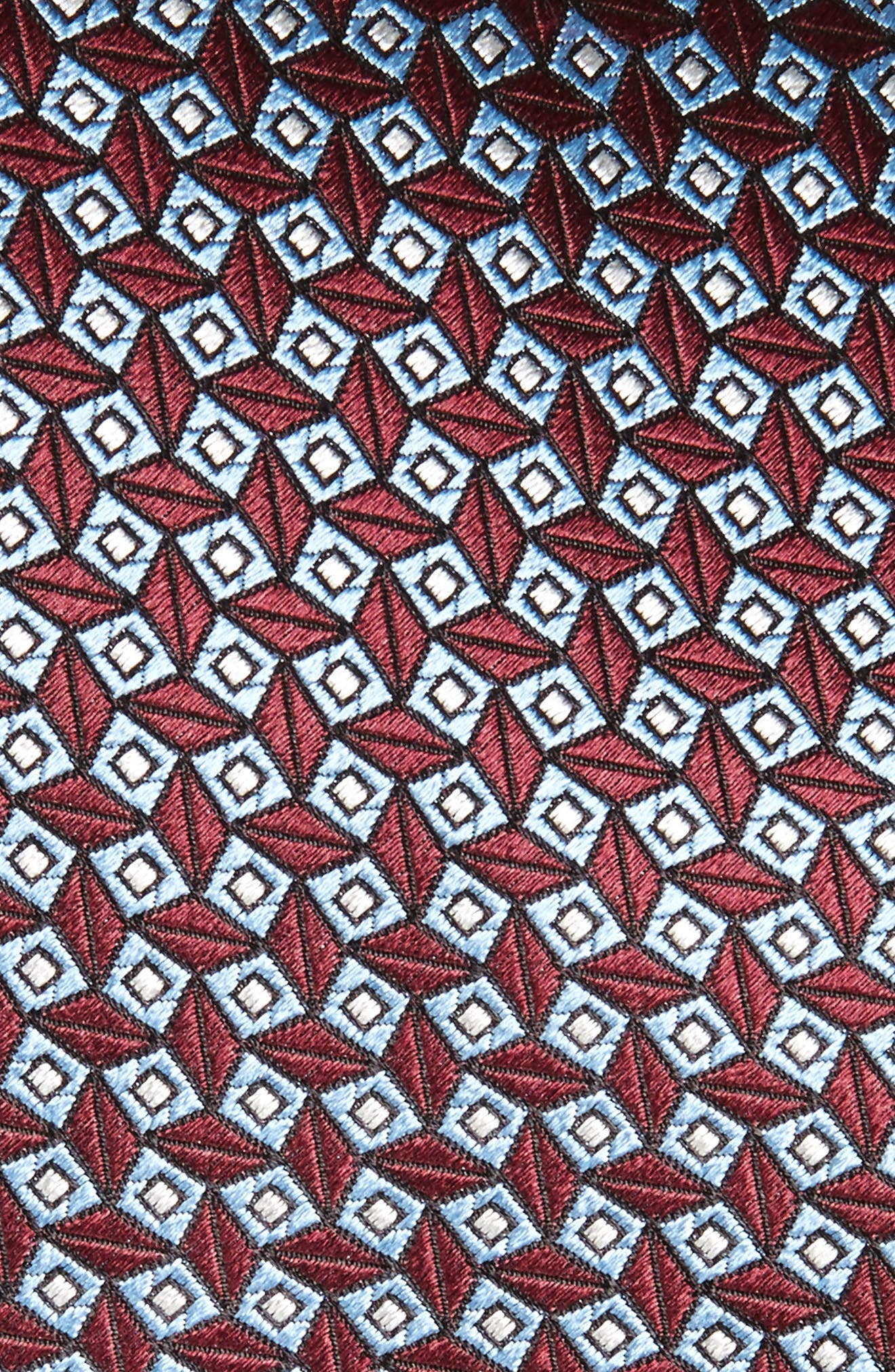 Geometric Silk Tie,                             Alternate thumbnail 2, color,                             Red Micro Fan