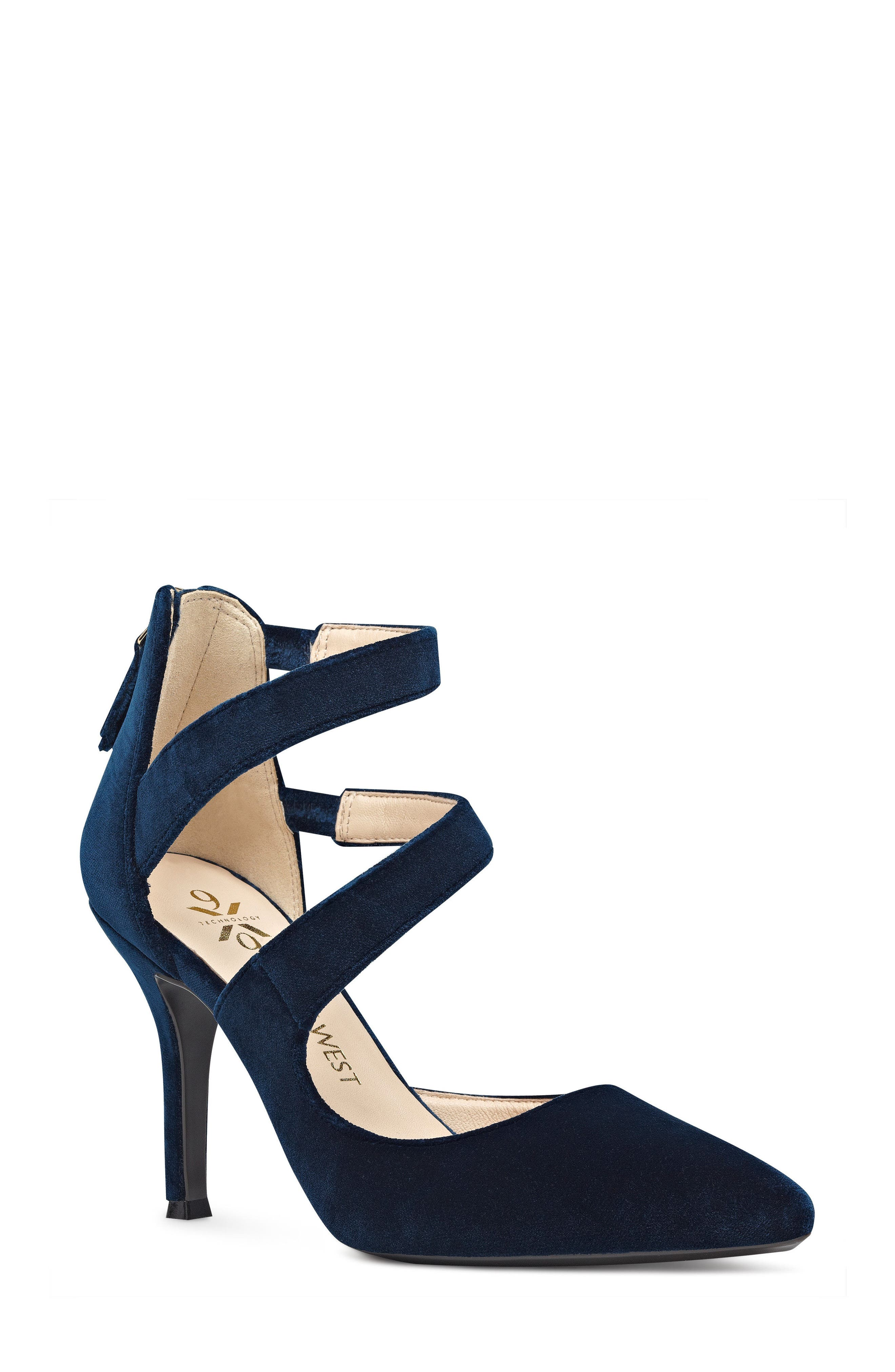 Florent Asymmetrical Strappy Pump,                         Main,                         color, Navy Fabric