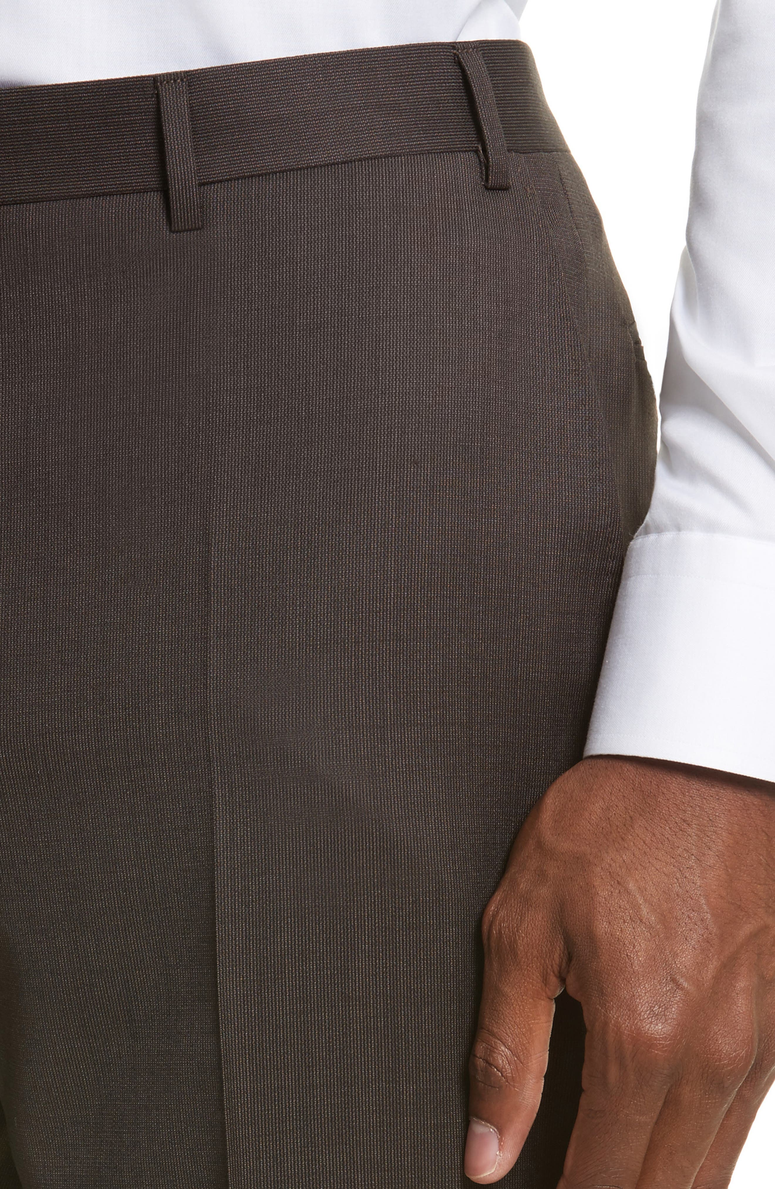 Alternate Image 4  - Canali Flat Front Stripe Wool Trousers