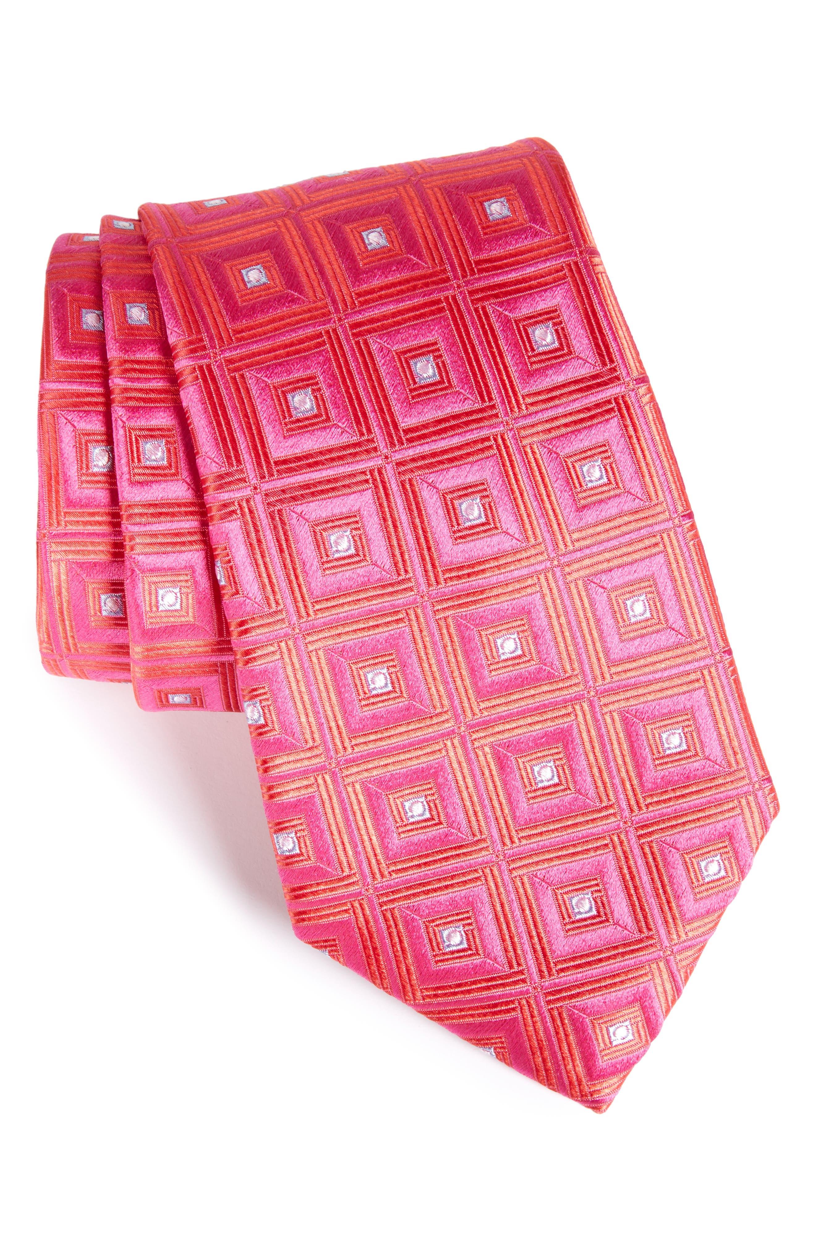 Frame Diamonds Silk Tie,                         Main,                         color, Pink