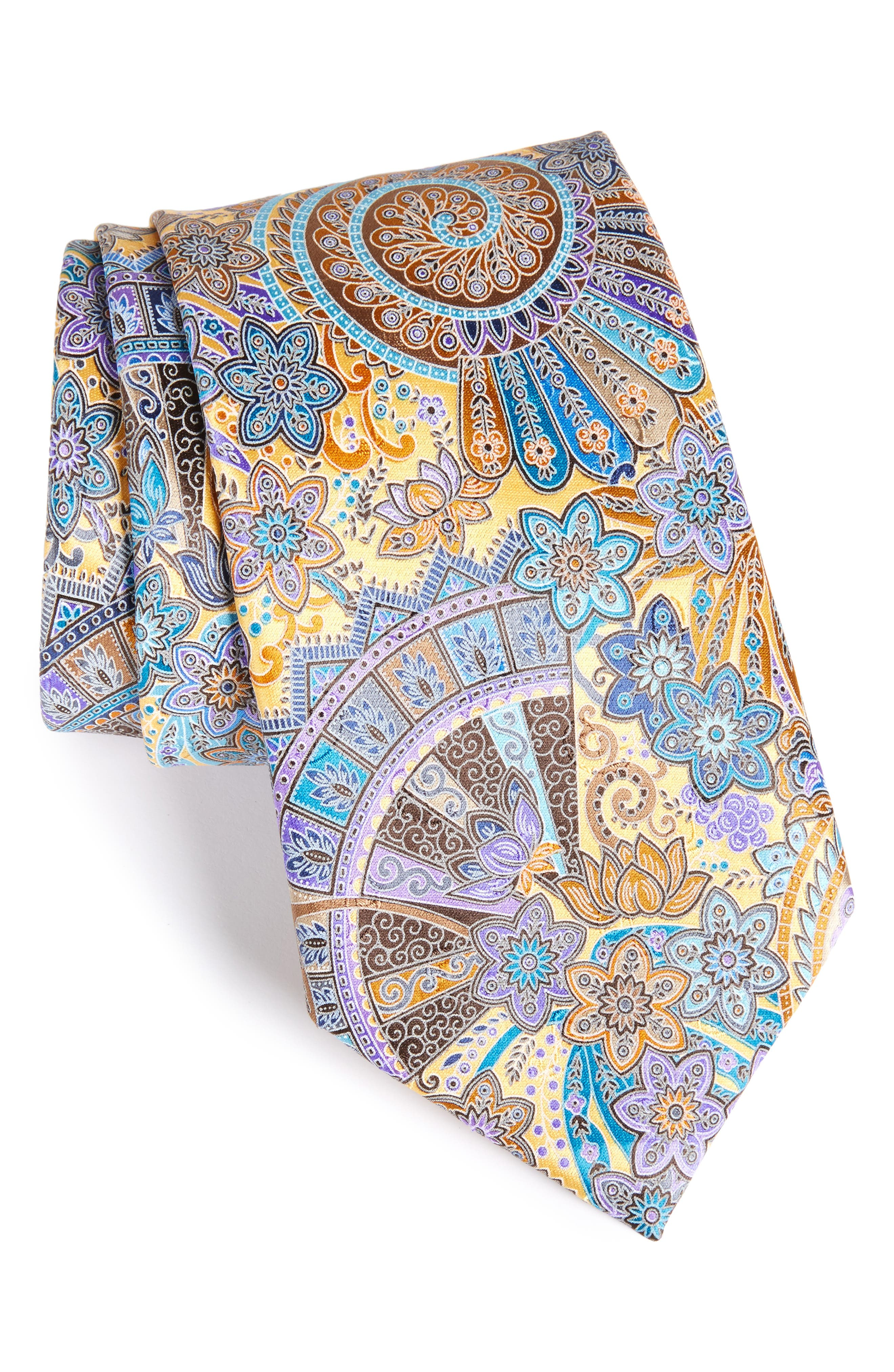 Quindici Paisley Silk Tie,                         Main,                         color, Medium Yellow Fan