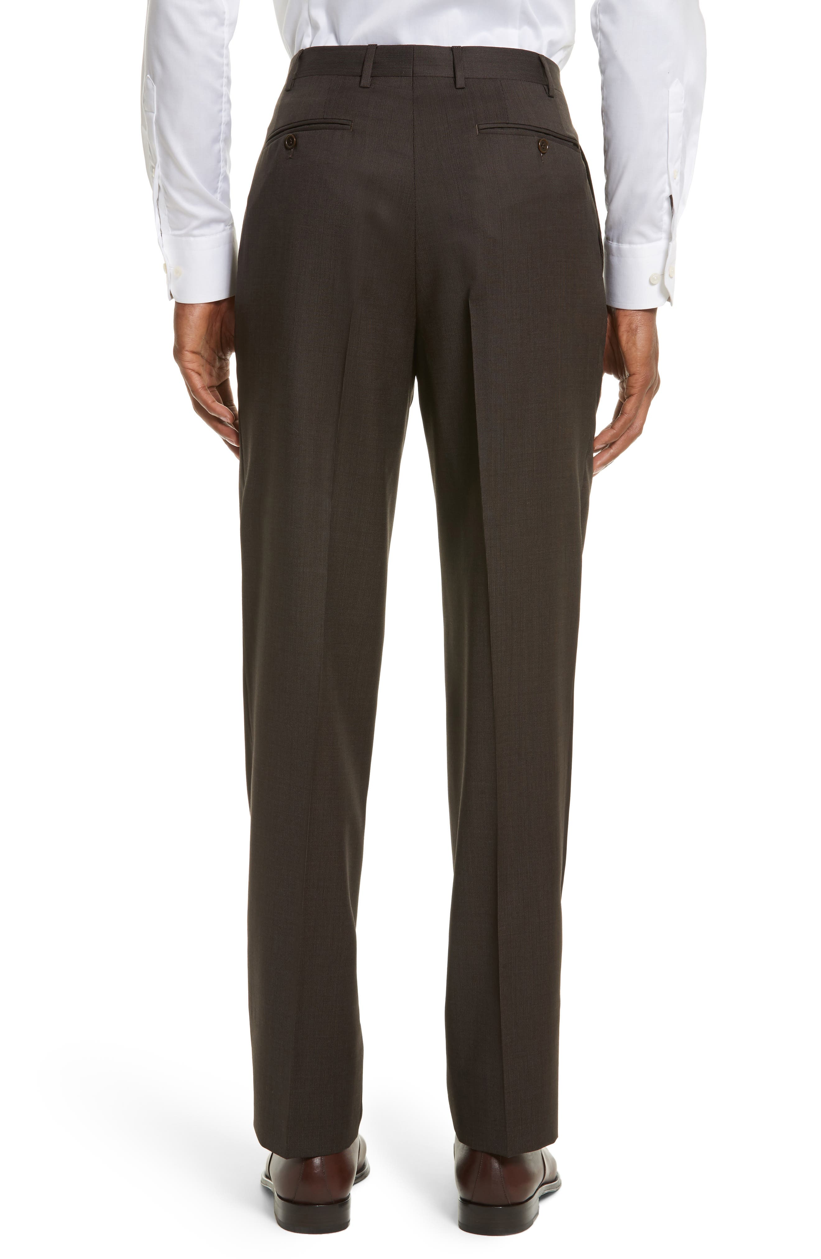 Flat Front Stripe Wool Trousers,                             Alternate thumbnail 2, color,                             Brown