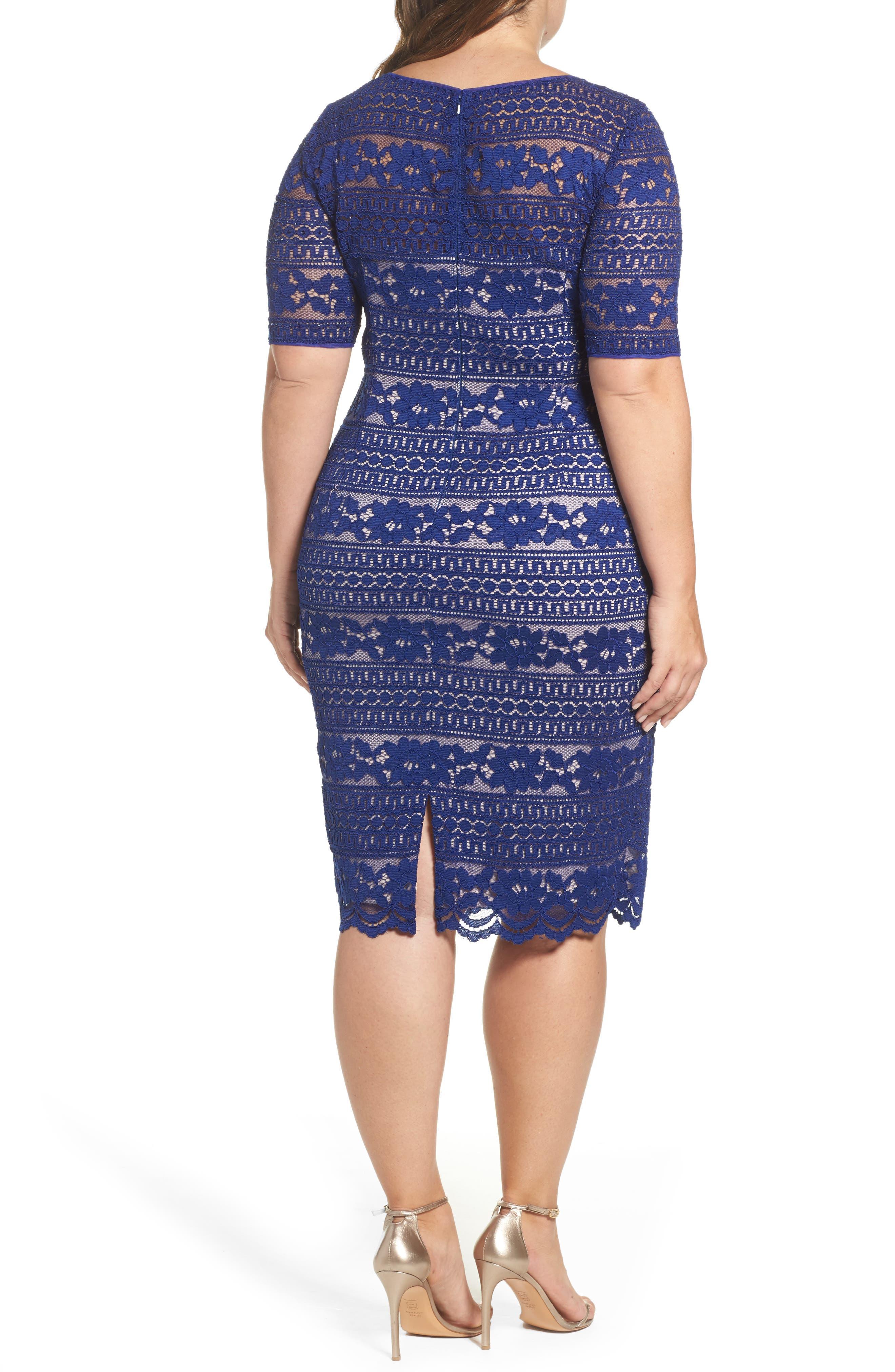 Alternate Image 2  - Adrianna Papell Illusion Sleeve Lace Sheath Dress (Plus Size)