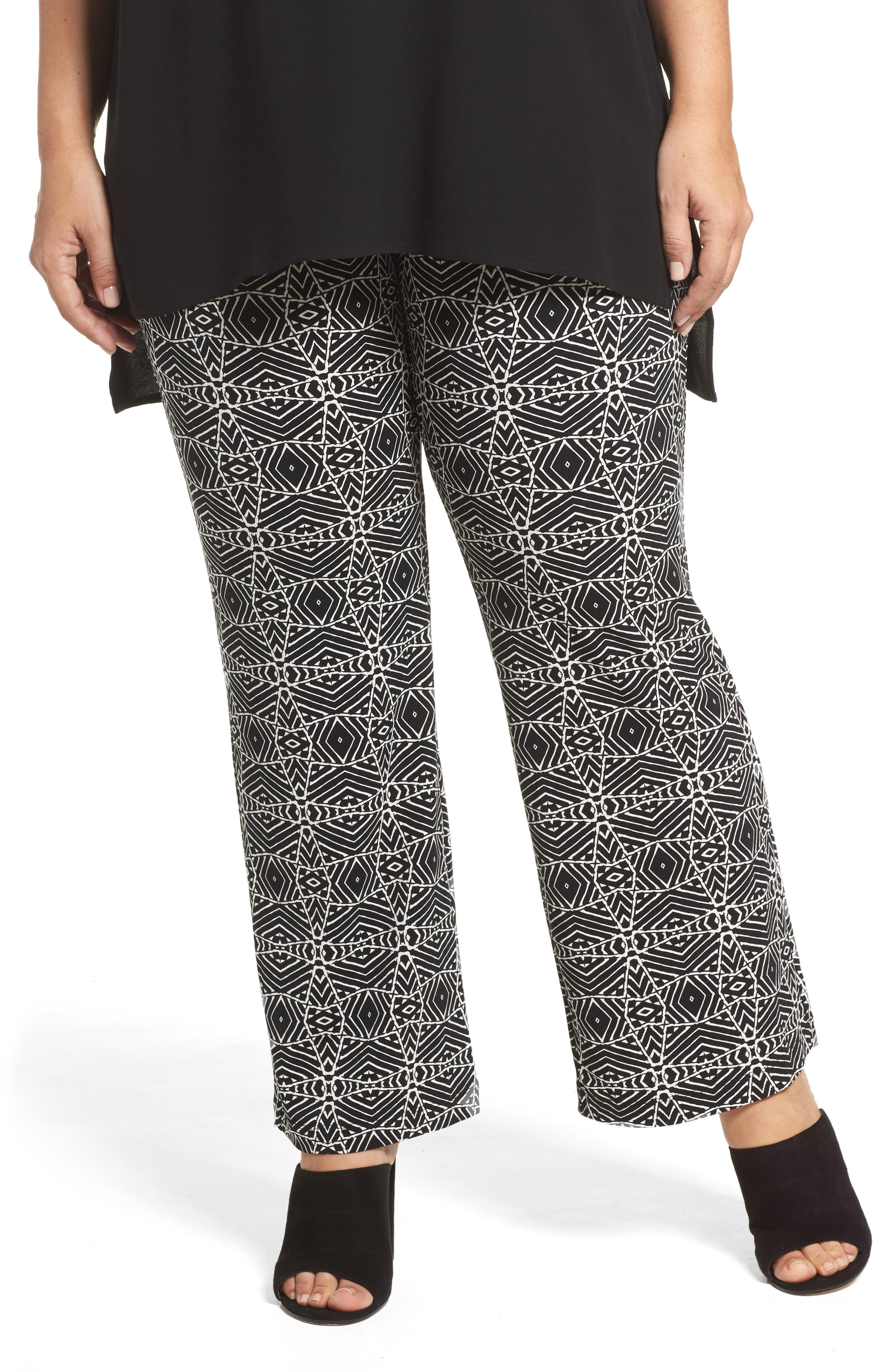 Alternate Image 1 Selected - Vince Camuto Graphic Print Pull-On Pants (Plus Size)