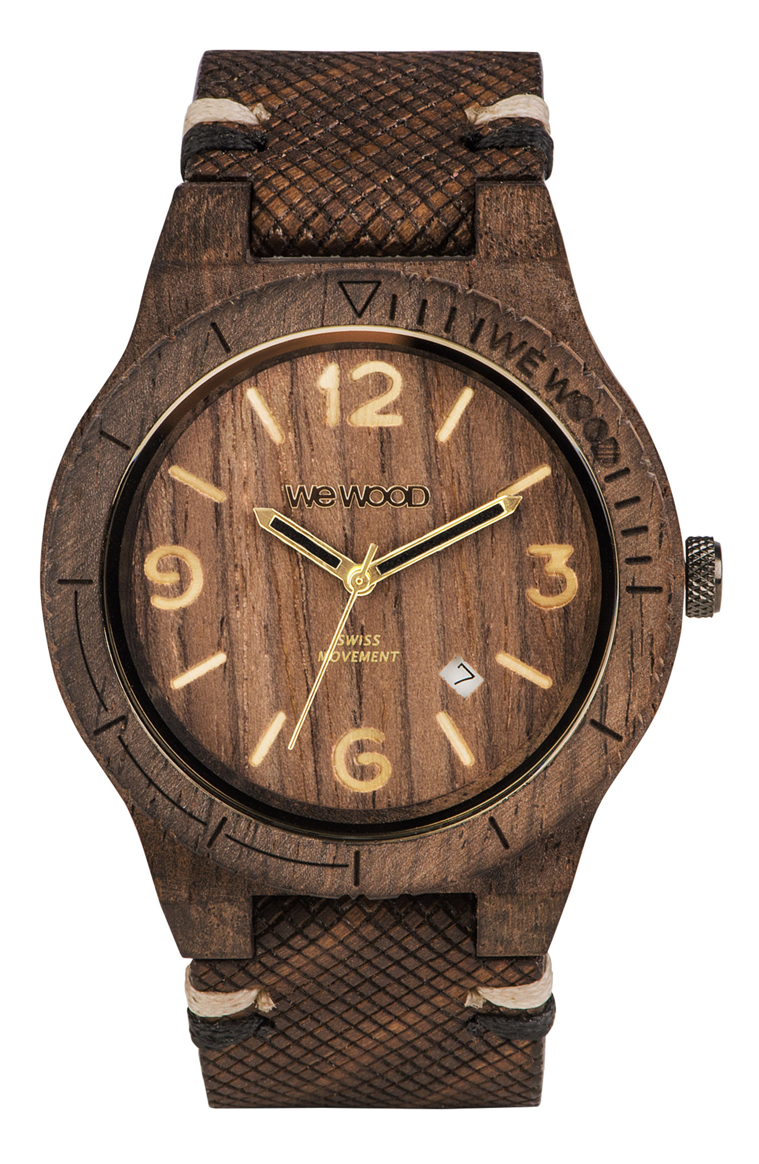 Alpha Wood Leather Strap Watch, 46mm,                         Main,                         color, Brown/ Tan