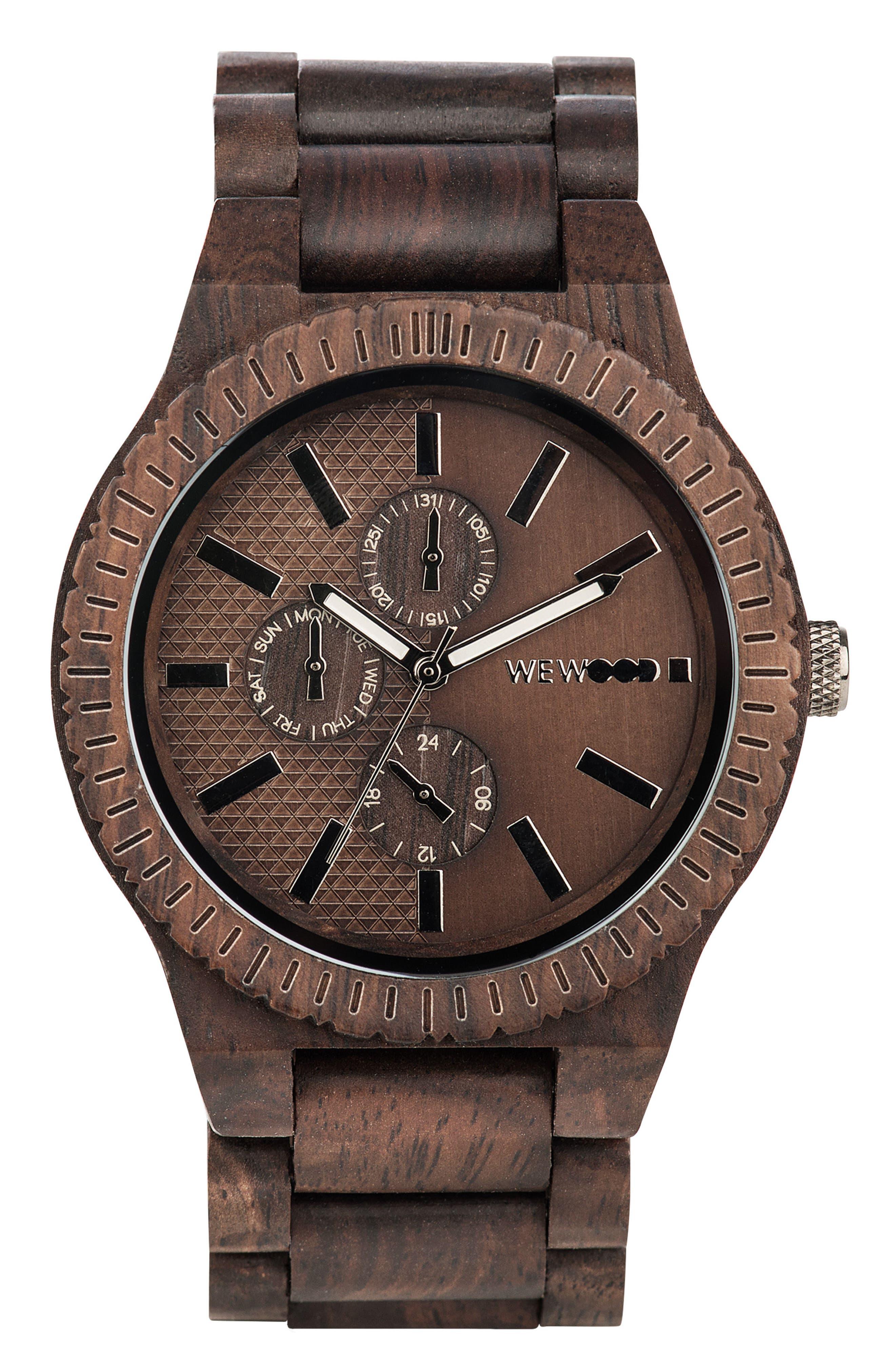 Alternate Image 1 Selected - WeWOOD Kos Multifunctional Wood Bracelet Watch, 46mm
