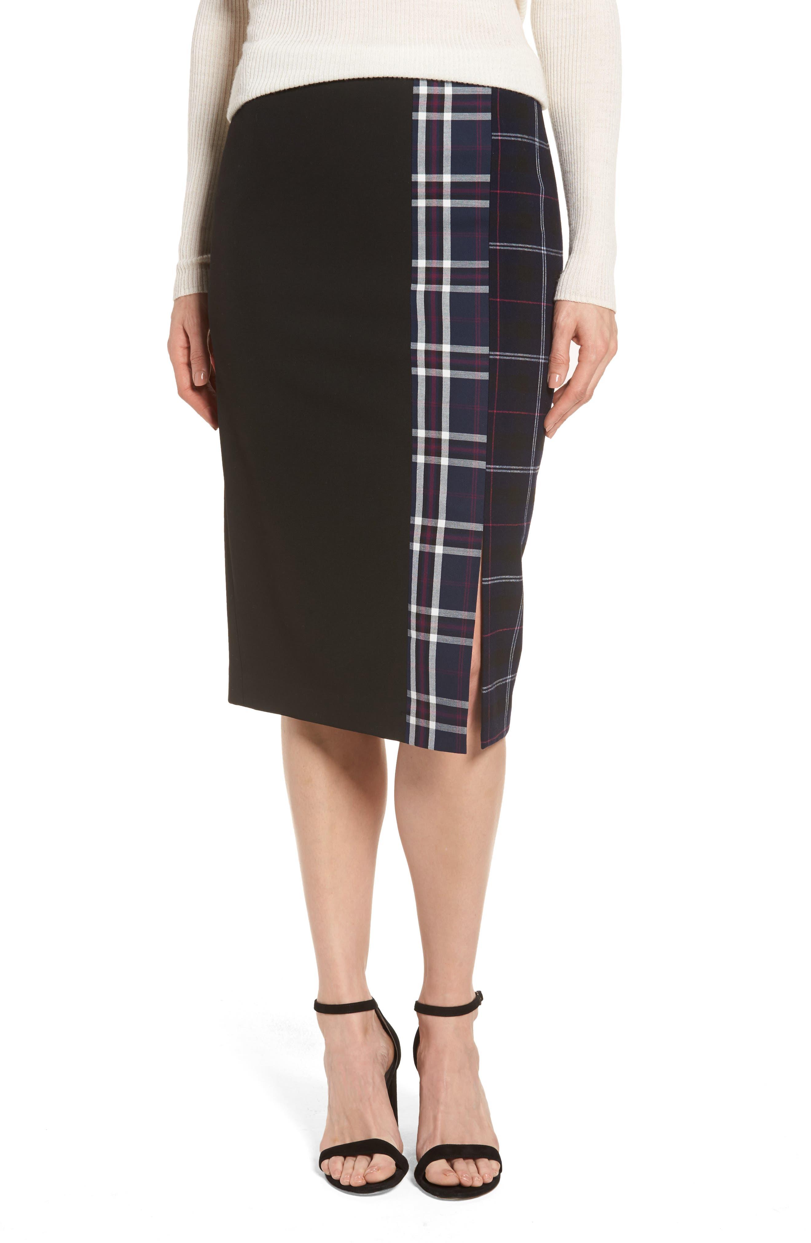 Halogen® Mixed Plaid Pencil Skirt