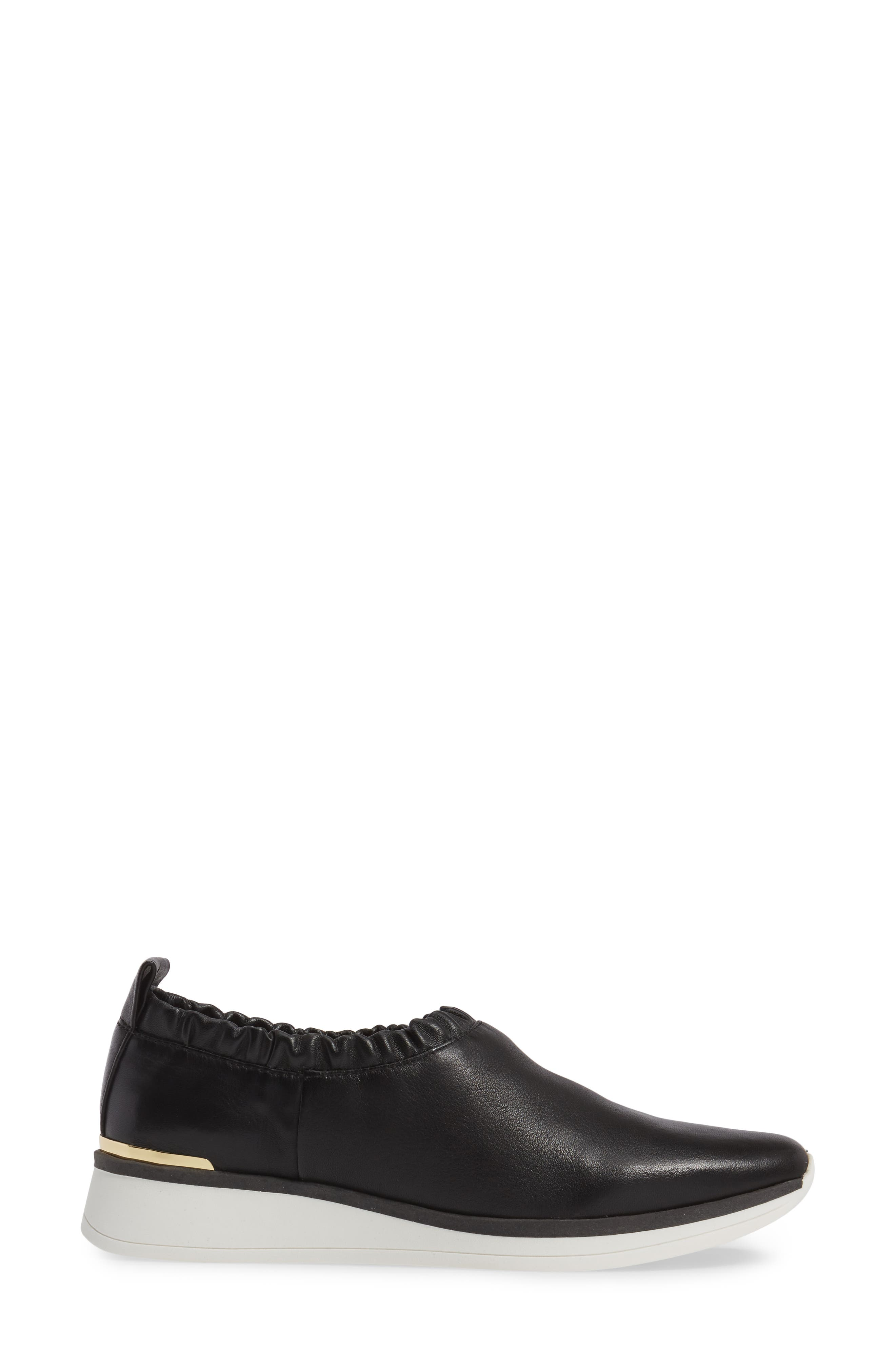 Brogen Slip-On Sneaker,                             Alternate thumbnail 3, color,                             Black Leather