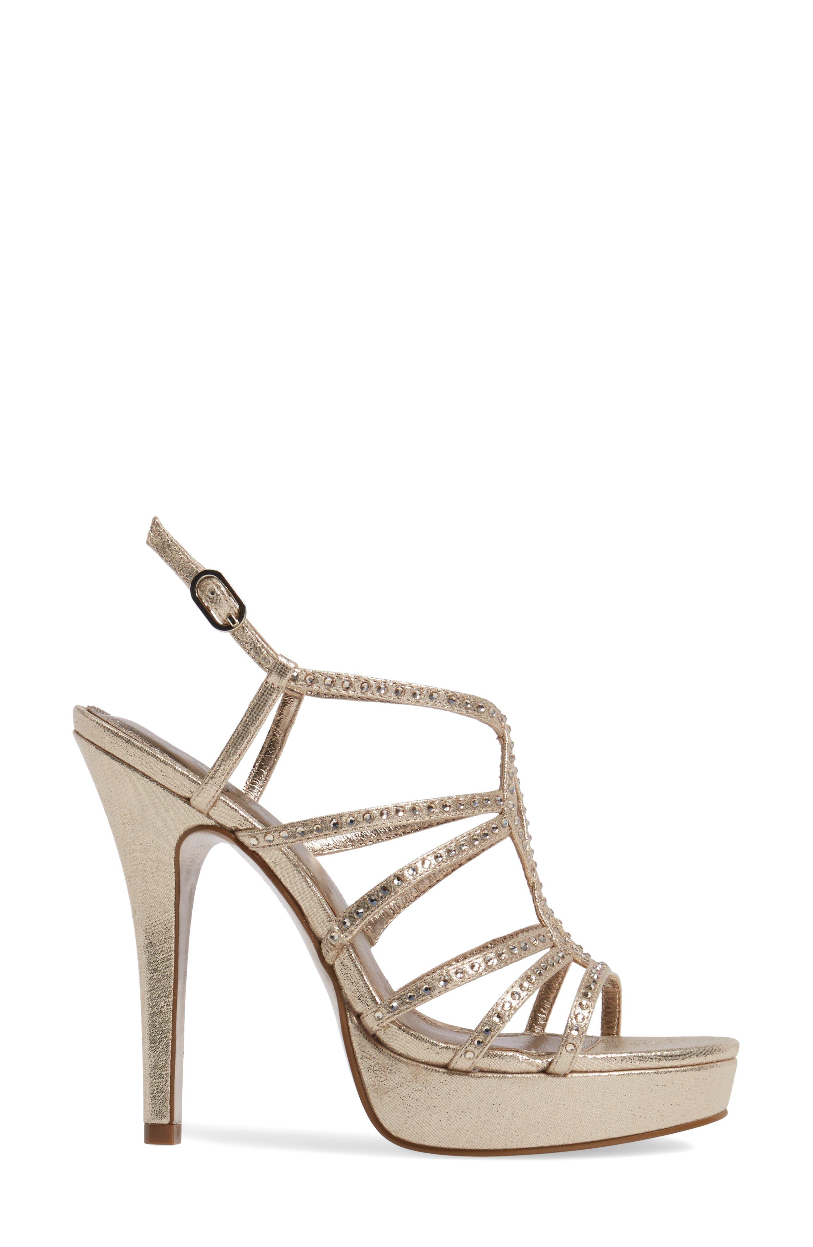 Miranda Embellished Platform Sandal,                             Alternate thumbnail 3, color,                             Gold Metallic Fabric