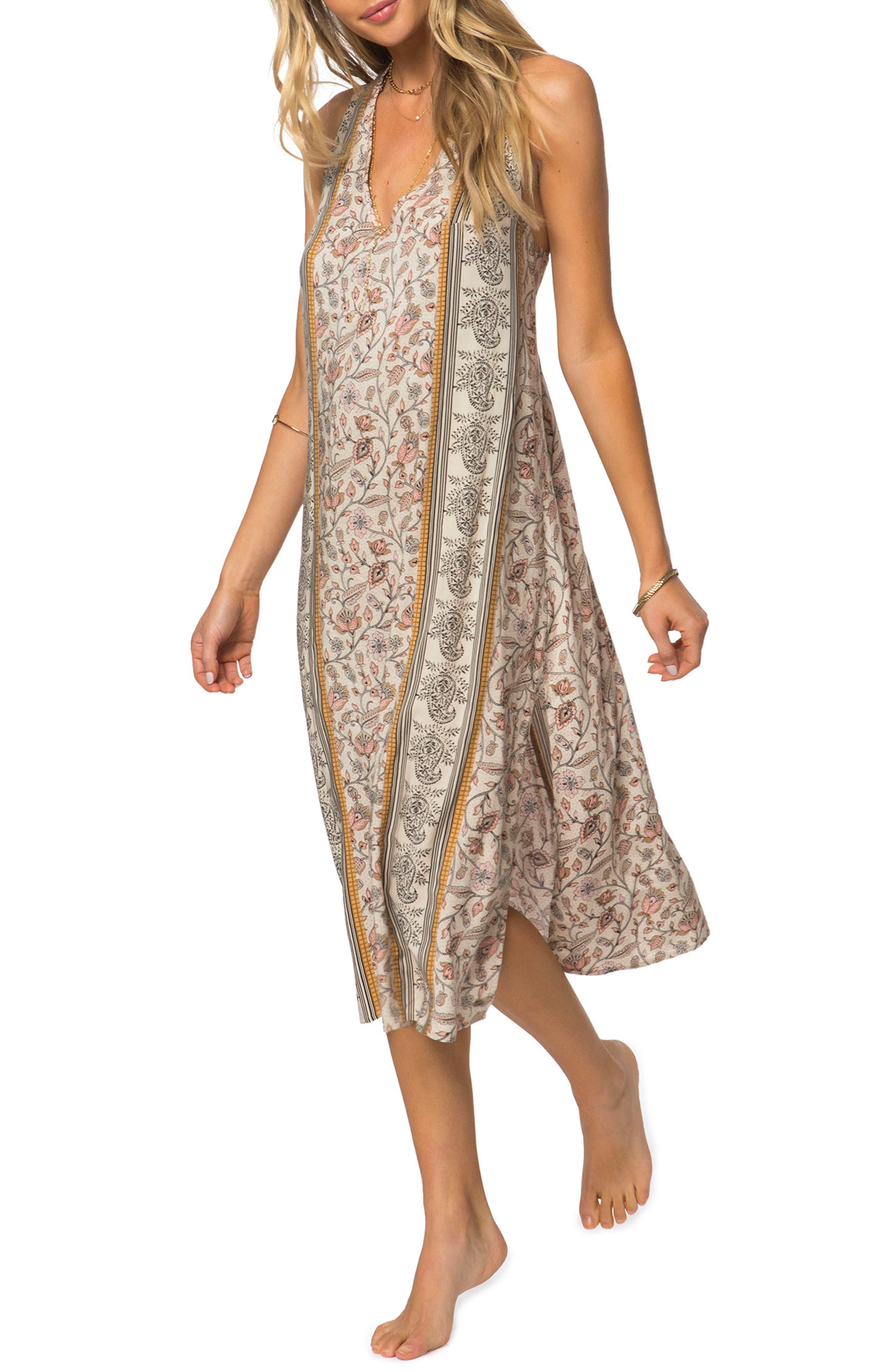 Phoenix Print Midi Dress,                         Main,                         color, Smoke Grey