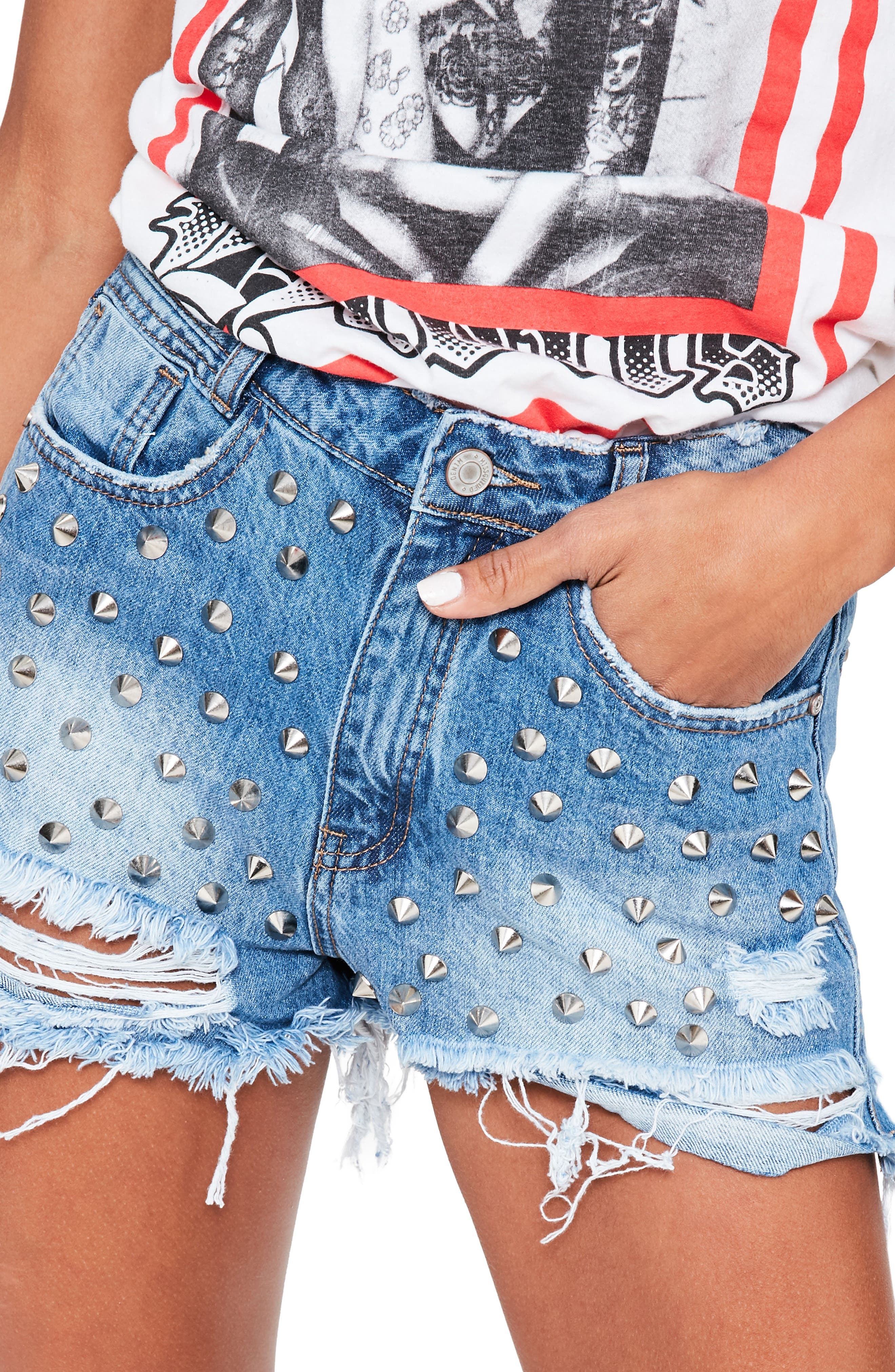 Studded Distressed Denim Shorts,                             Alternate thumbnail 3, color,                             Blue