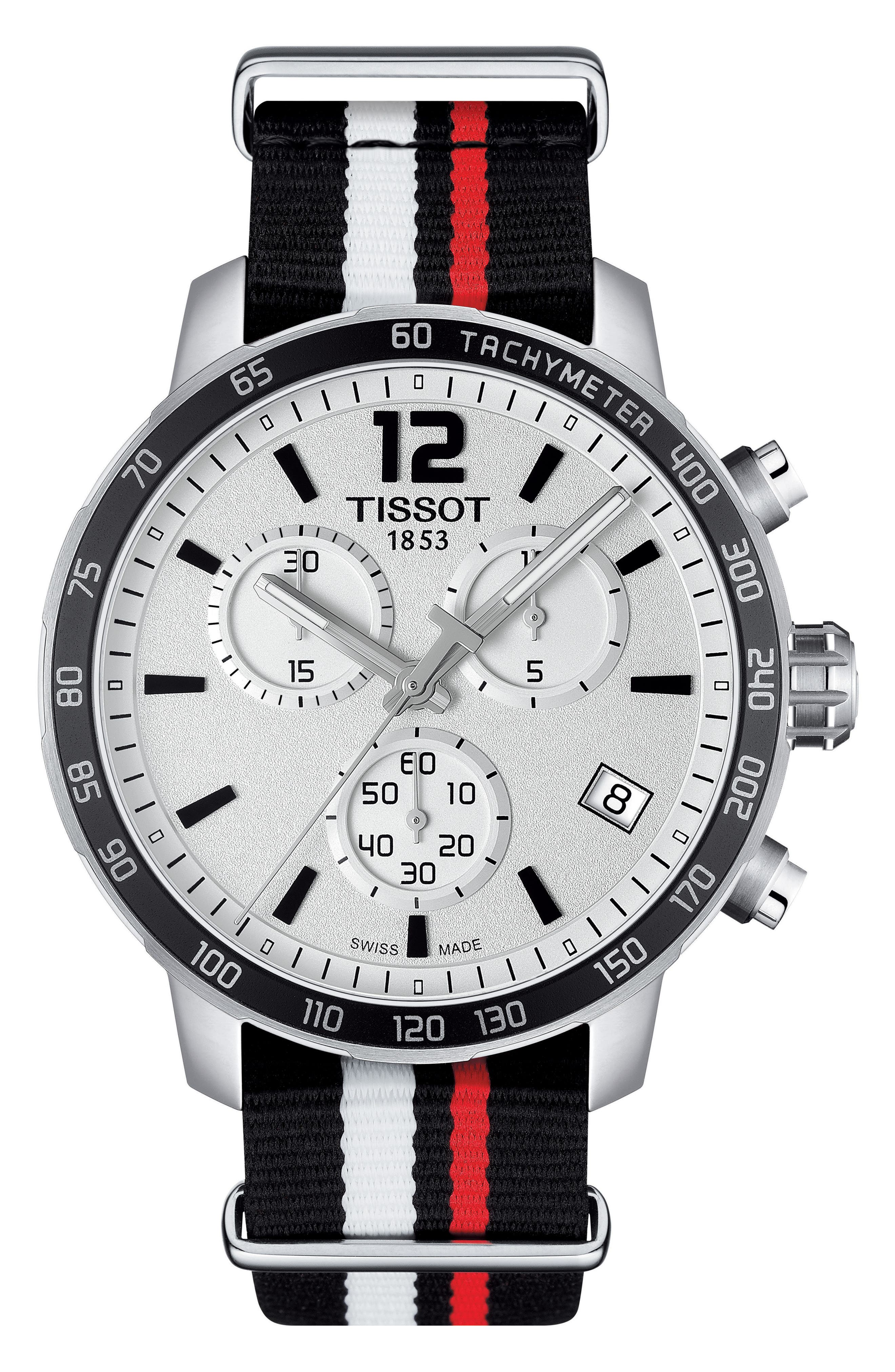 TISSOT Quikster NBA Chronograph NATO Strap Watch, 42mm
