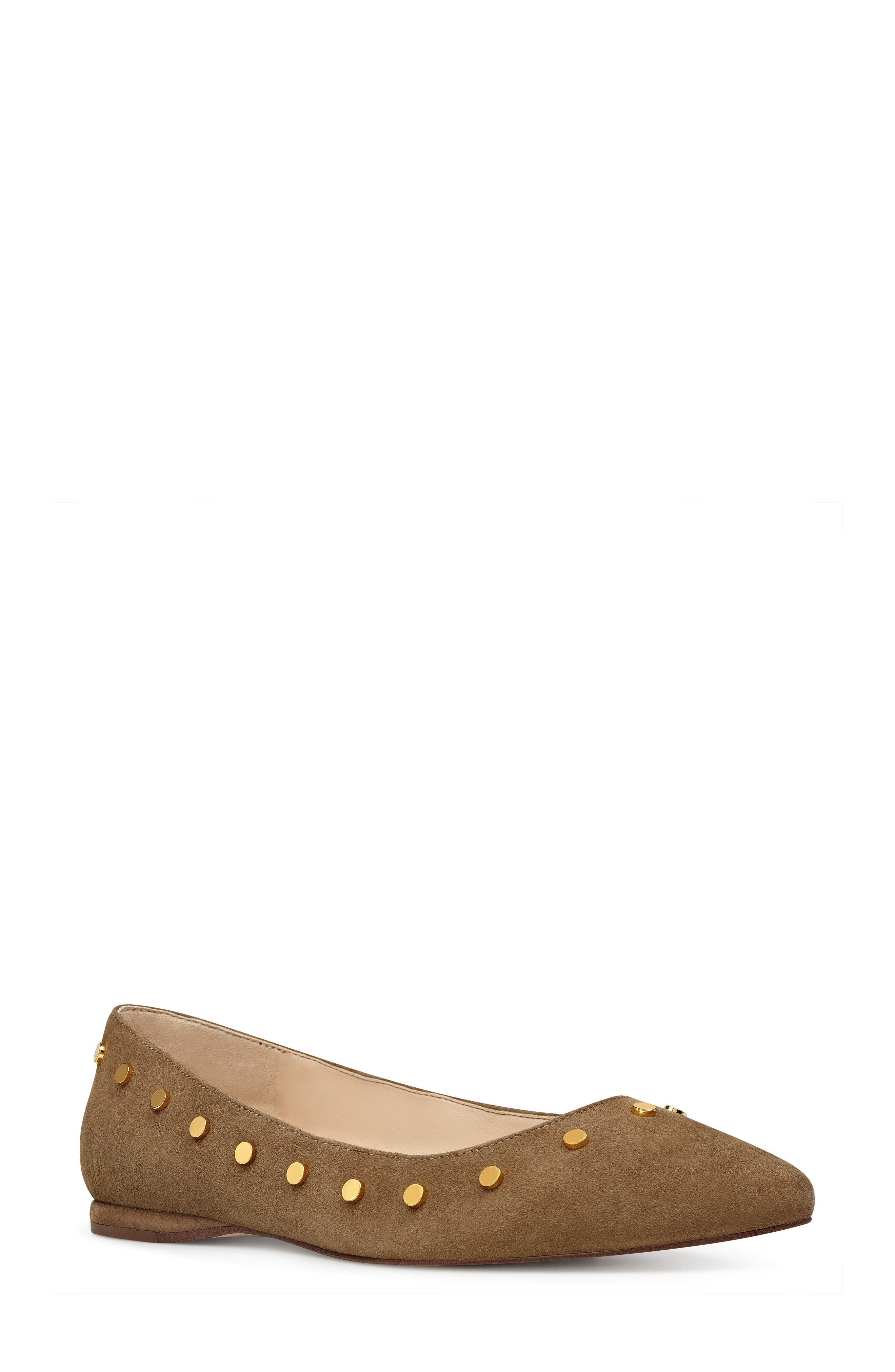 Sigismonda Studded Flat,                             Main thumbnail 1, color,                             Green Suede