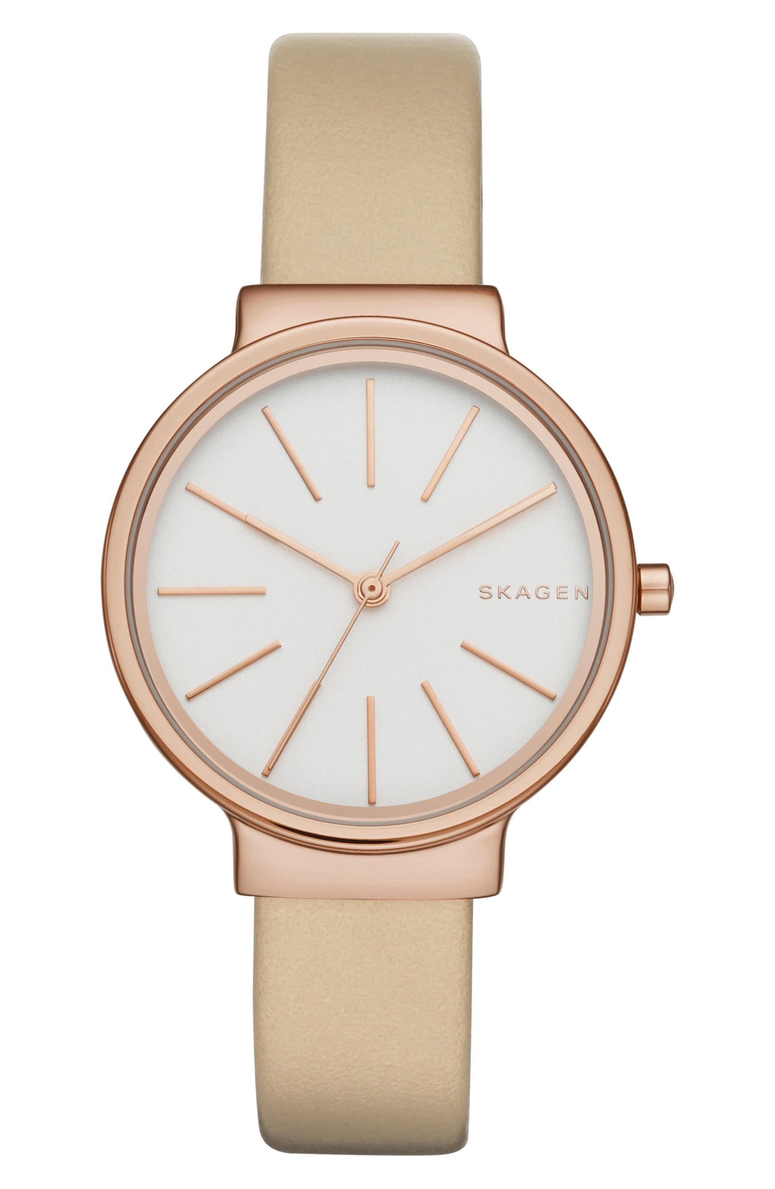 Ancher Strap Watch, 30mm,                         Main,                         color, Oat/ Silver/ Rose Gold