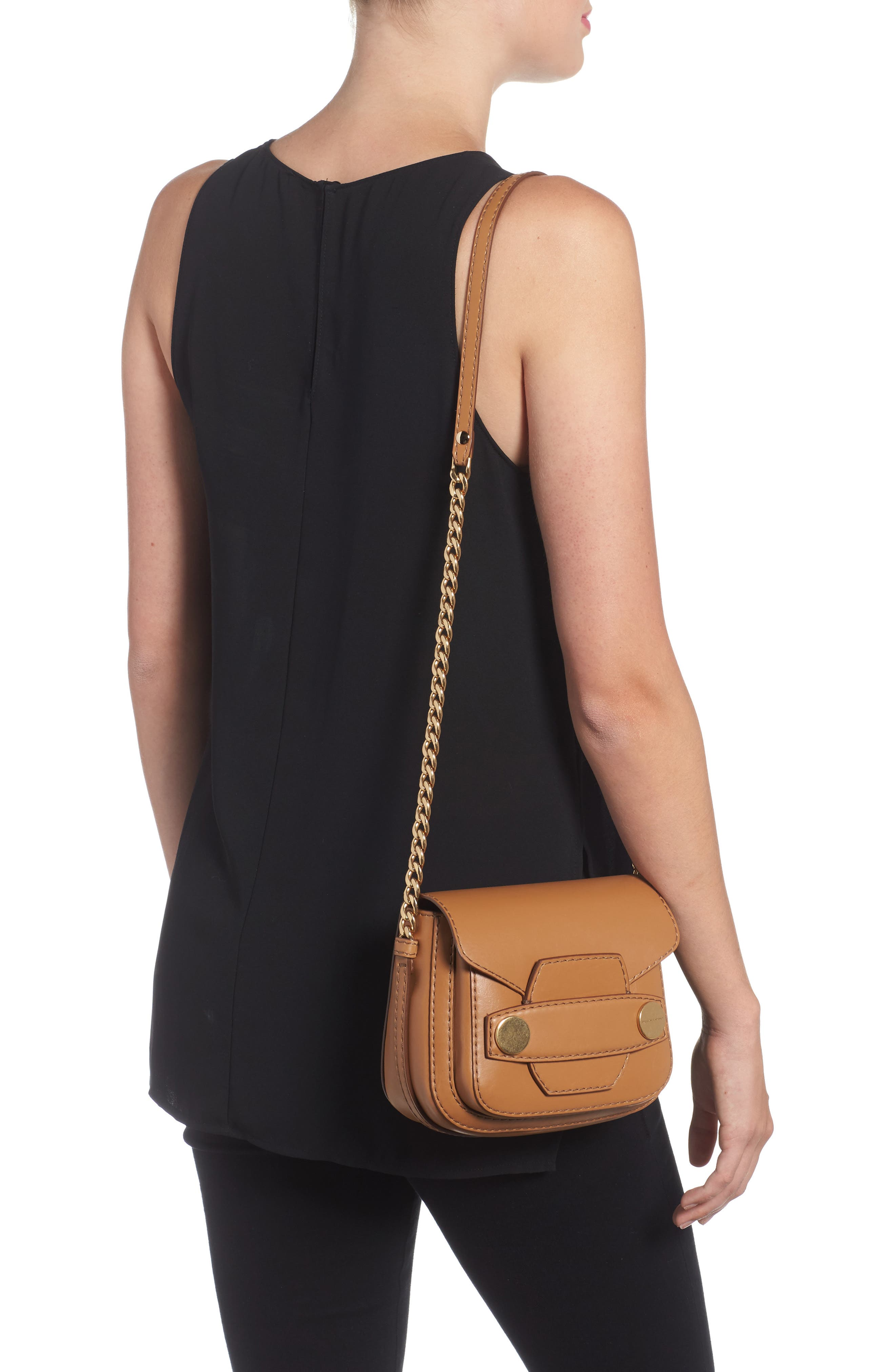 Textured Faux Leather Crossbody Bag,                             Alternate thumbnail 2, color,                             Camel