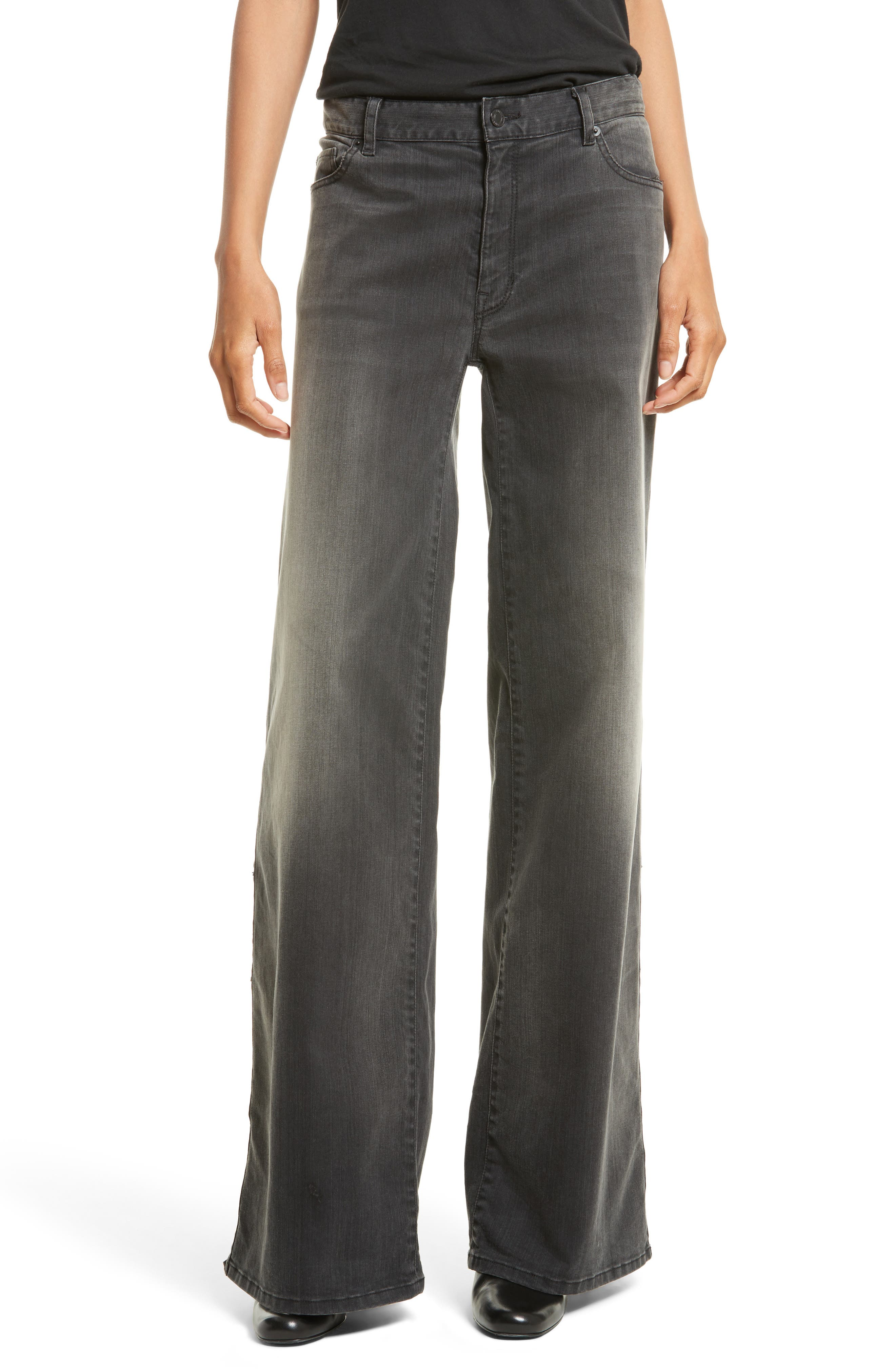 Ena Side Button Detail Wide Leg Jeans,                         Main,                         color, Smoke Wash