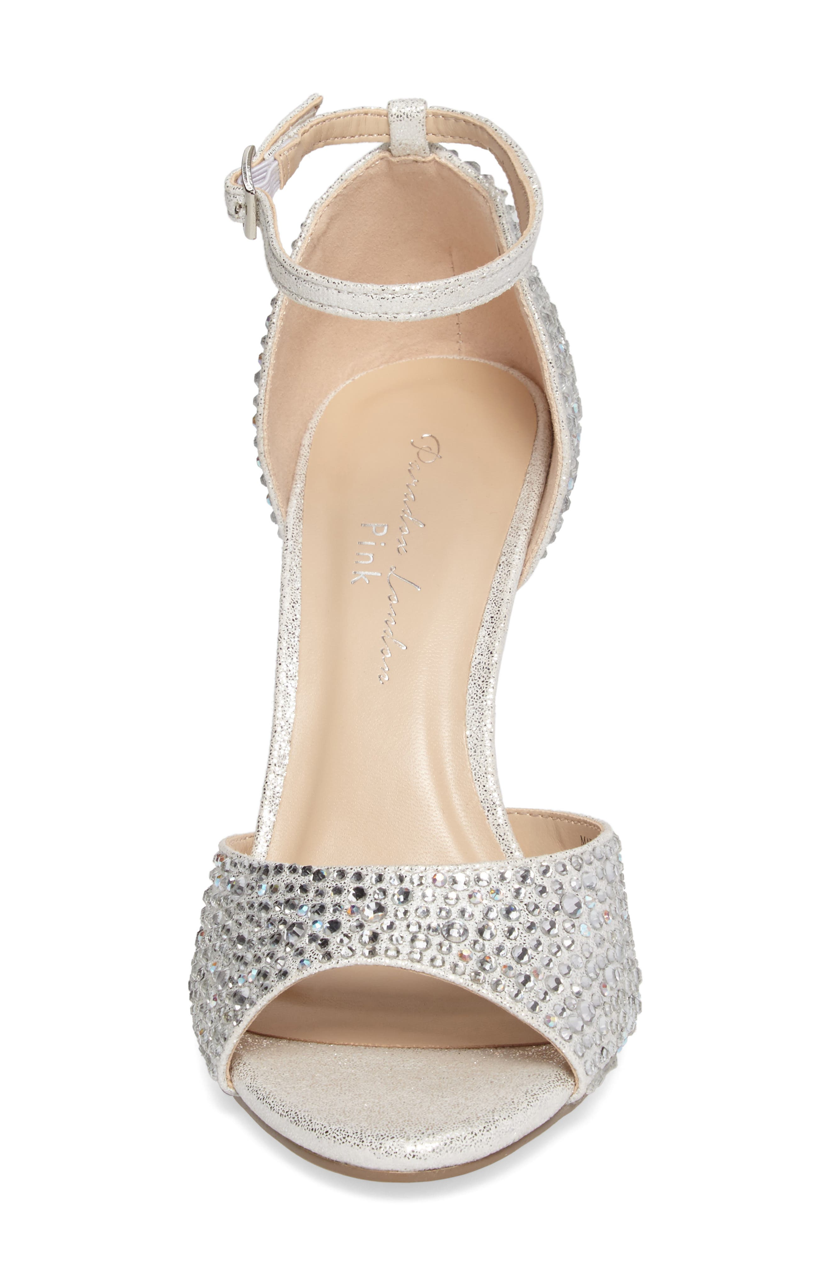 Mira Embellished Glitter Sandal,                             Alternate thumbnail 4, color,                             Silver