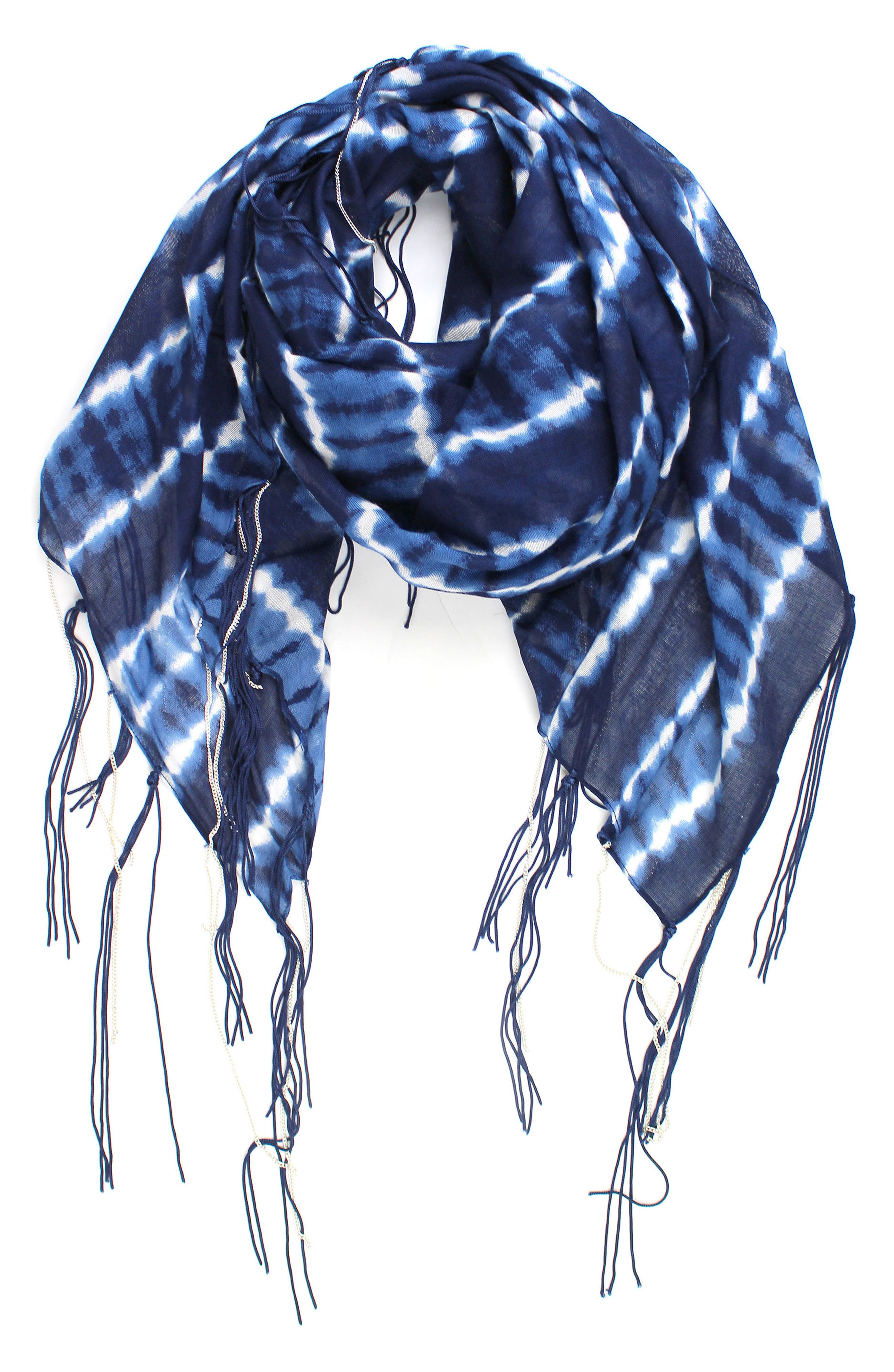 Tie Dye Fringe Scarf,                         Main,                         color, Indigo