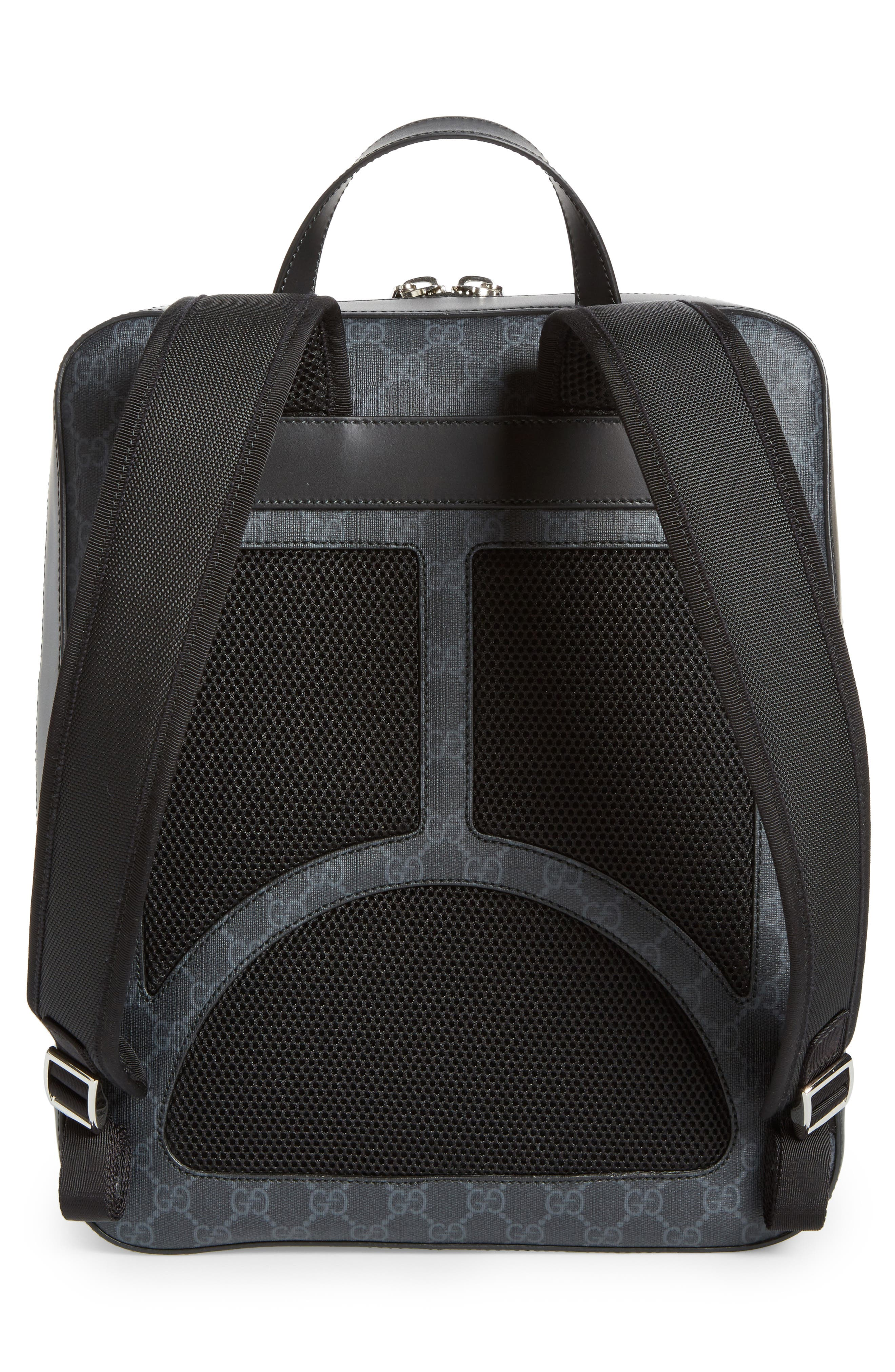 GG Leather Trim Backpack,                             Alternate thumbnail 3, color,                             Black