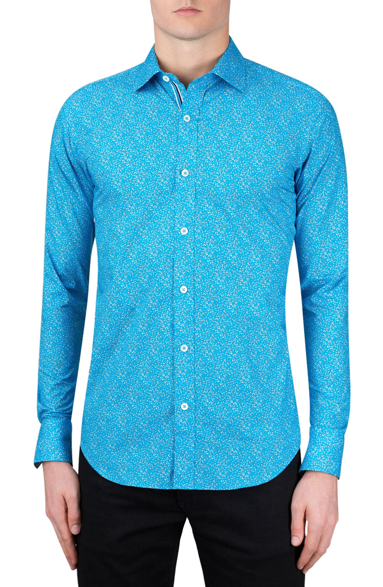 Classic Fit Dot Print Sport Shirt,                         Main,                         color, Turquoise