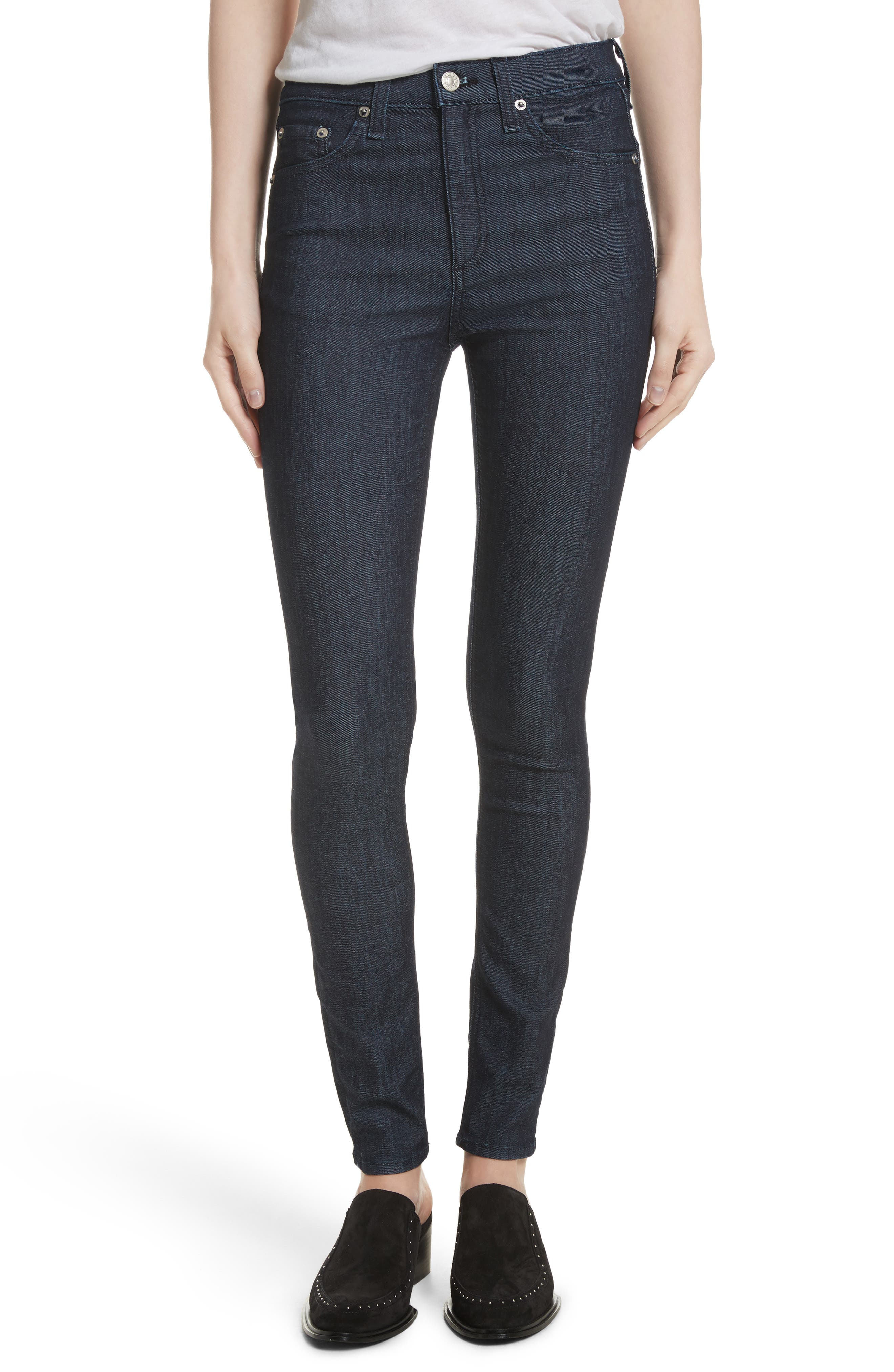 Alternate Image 1 Selected - rag & bone/JEAN High Waist Skinny Jeans (Indigo)