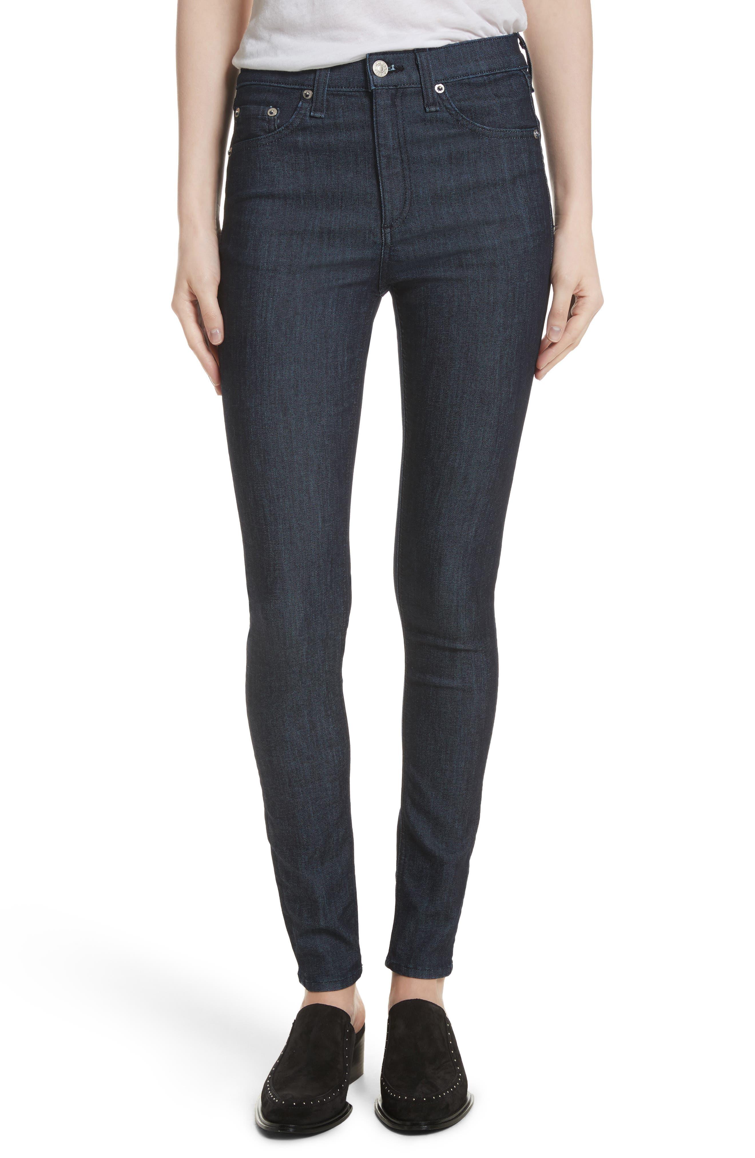 Main Image - rag & bone/JEAN High Waist Skinny Jeans (Indigo)