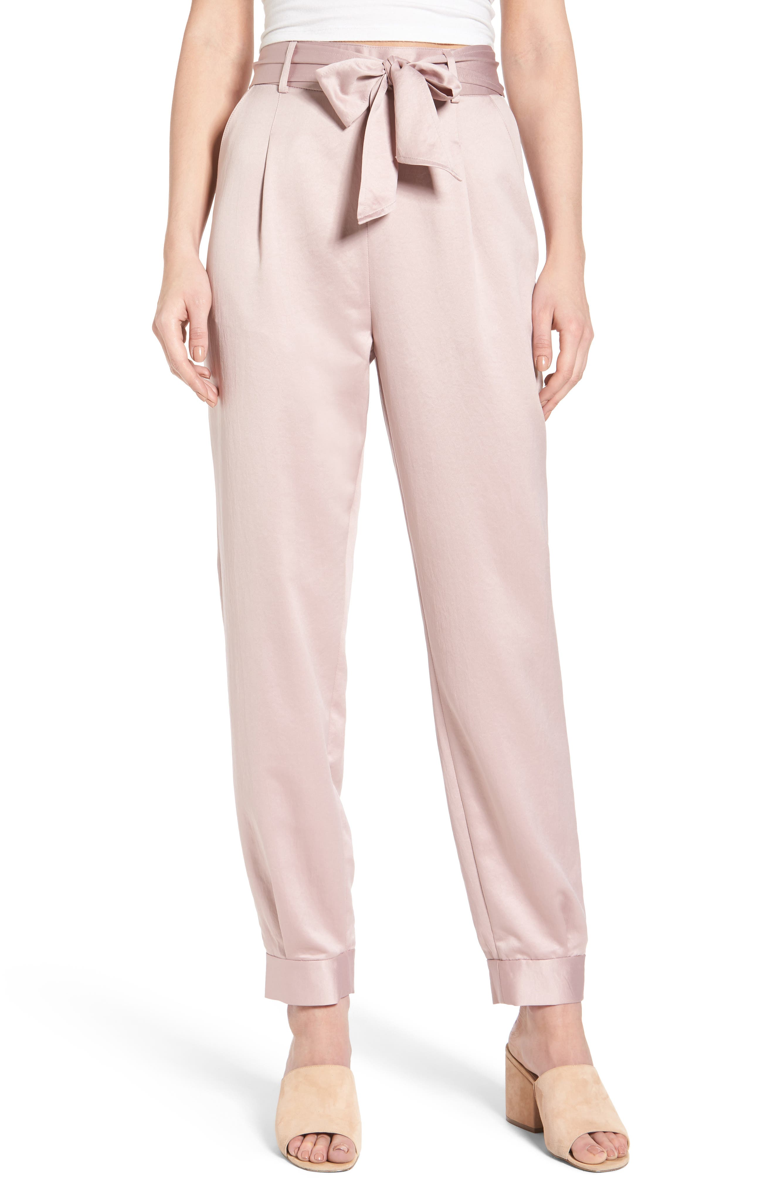 Alternate Image 1 Selected - Leith Tie Waist Satin Pants