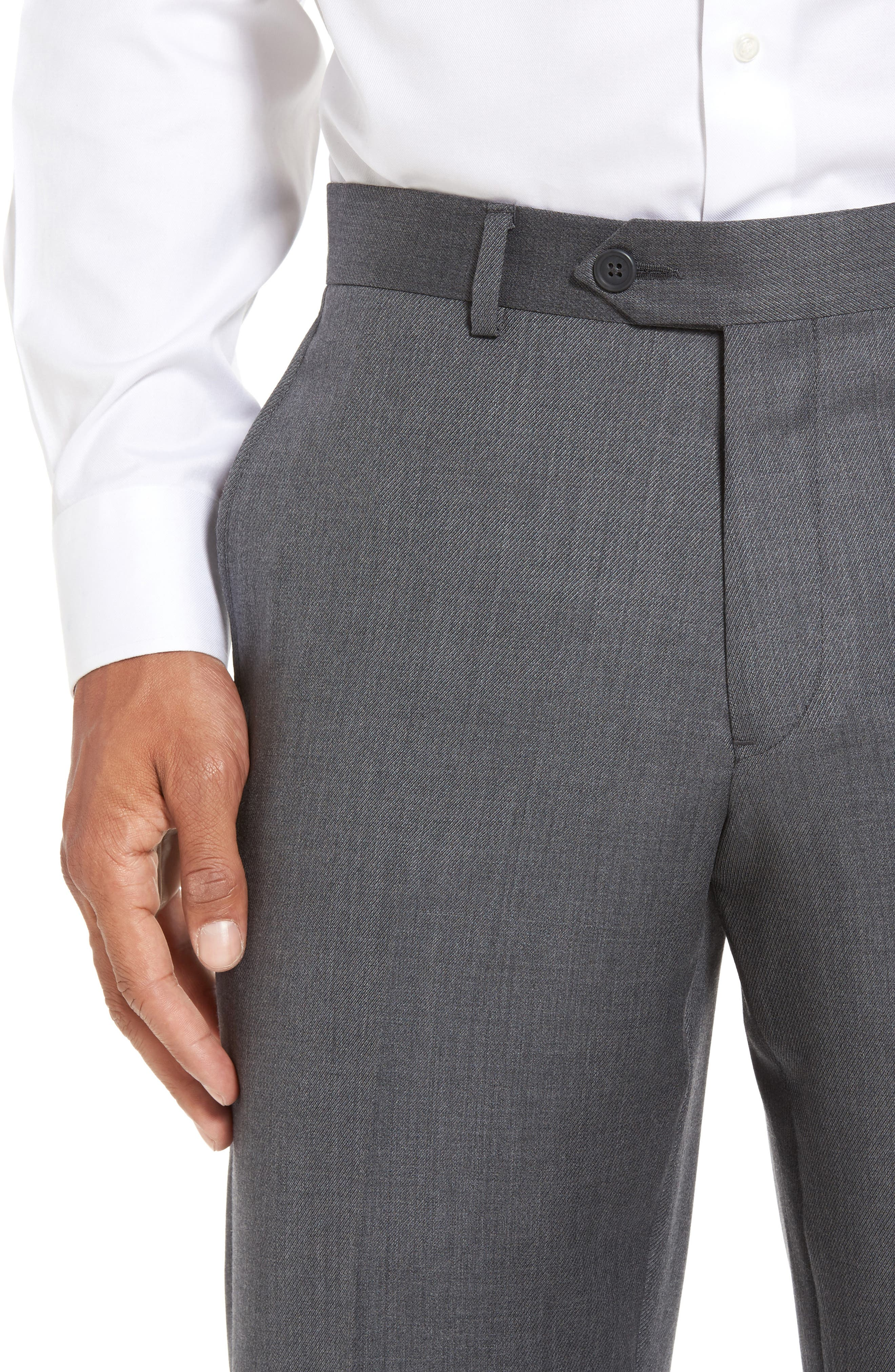 Alternate Image 4  - Nordstrom Men's Shop Flat Front Solid Wool Trousers