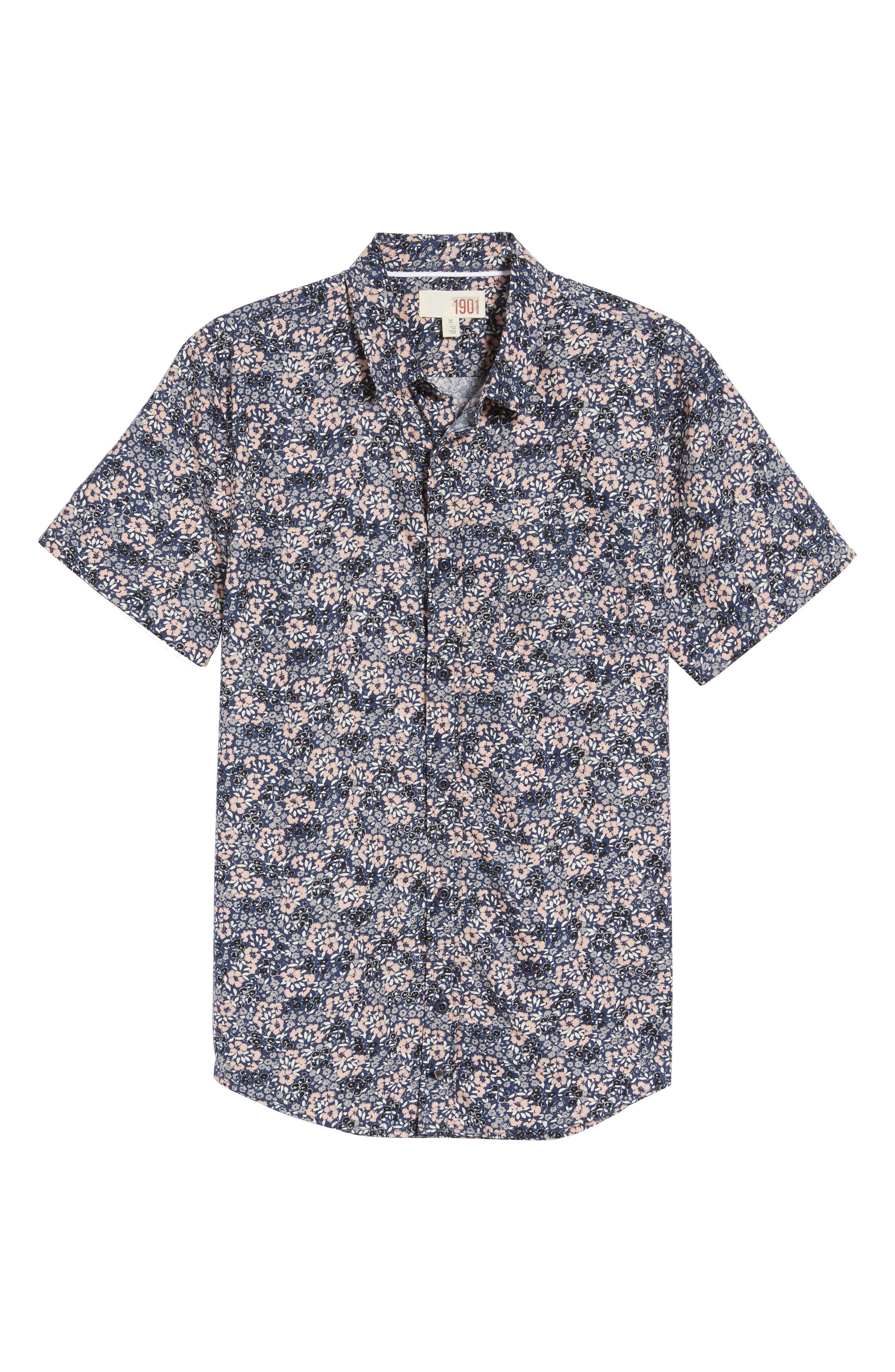 Poplin Floral Shirt,                             Alternate thumbnail 6, color,                             Navy Peacoat Simple Floral