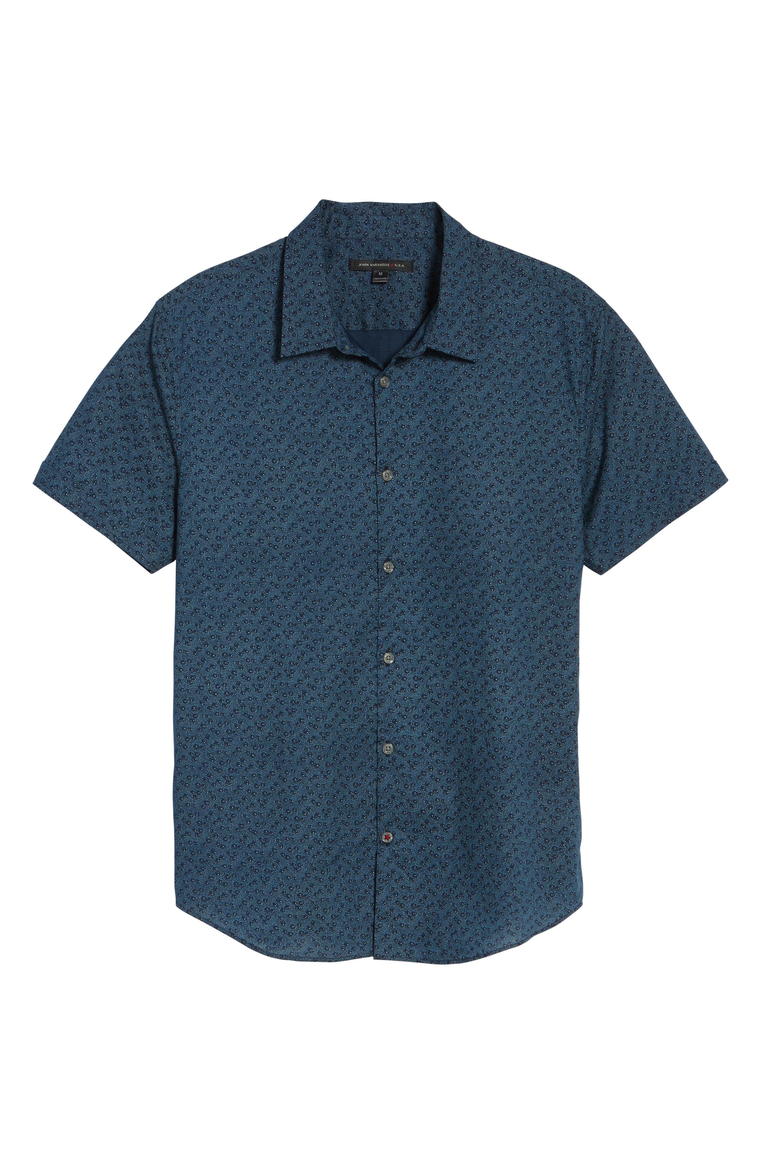 Print Sport Shirt,                             Alternate thumbnail 5, color,                             Indigo