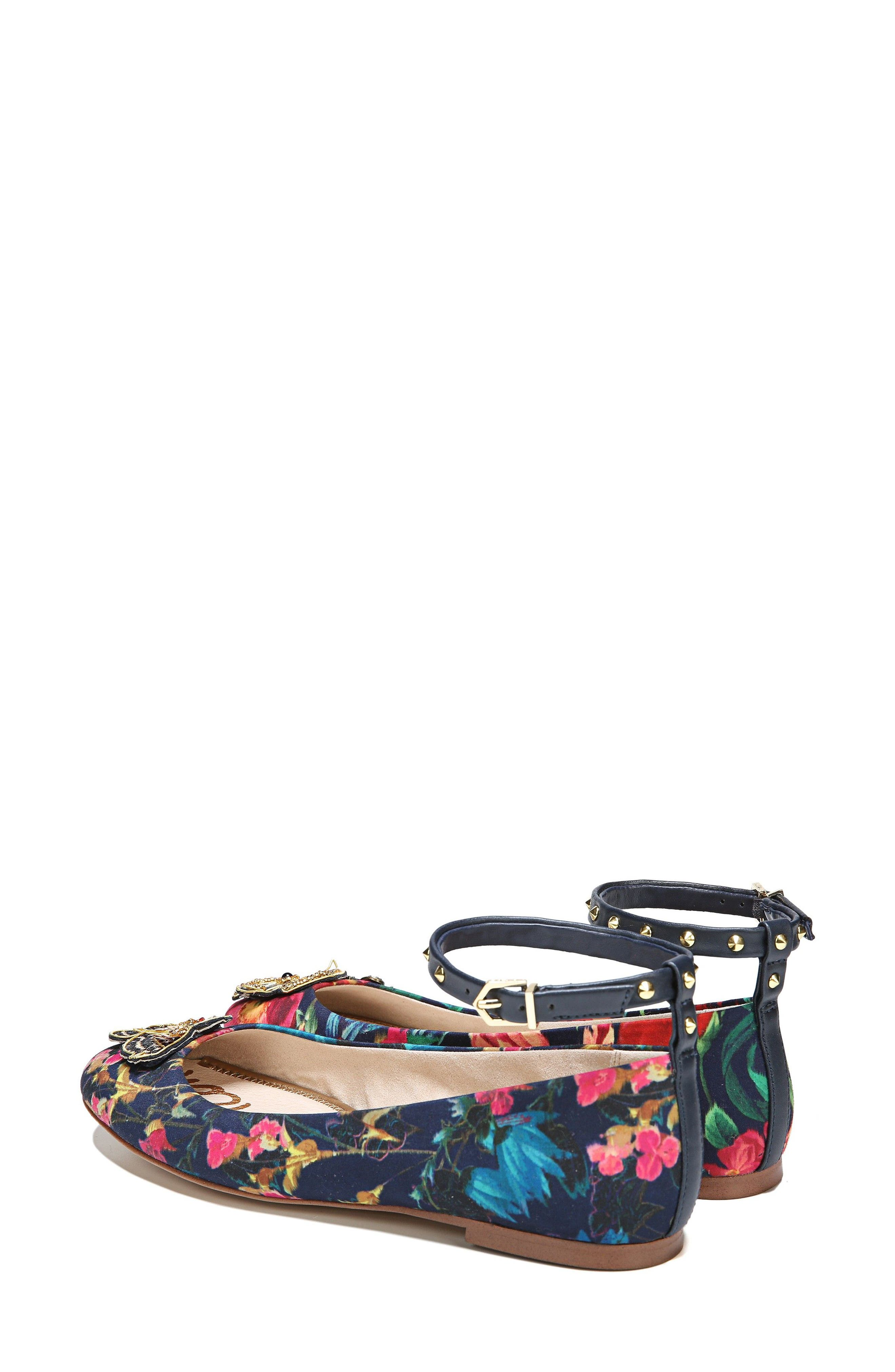 Ferrera Embellished Ankle Strap Flat,                             Alternate thumbnail 3, color,                             Navy Floral Fabric