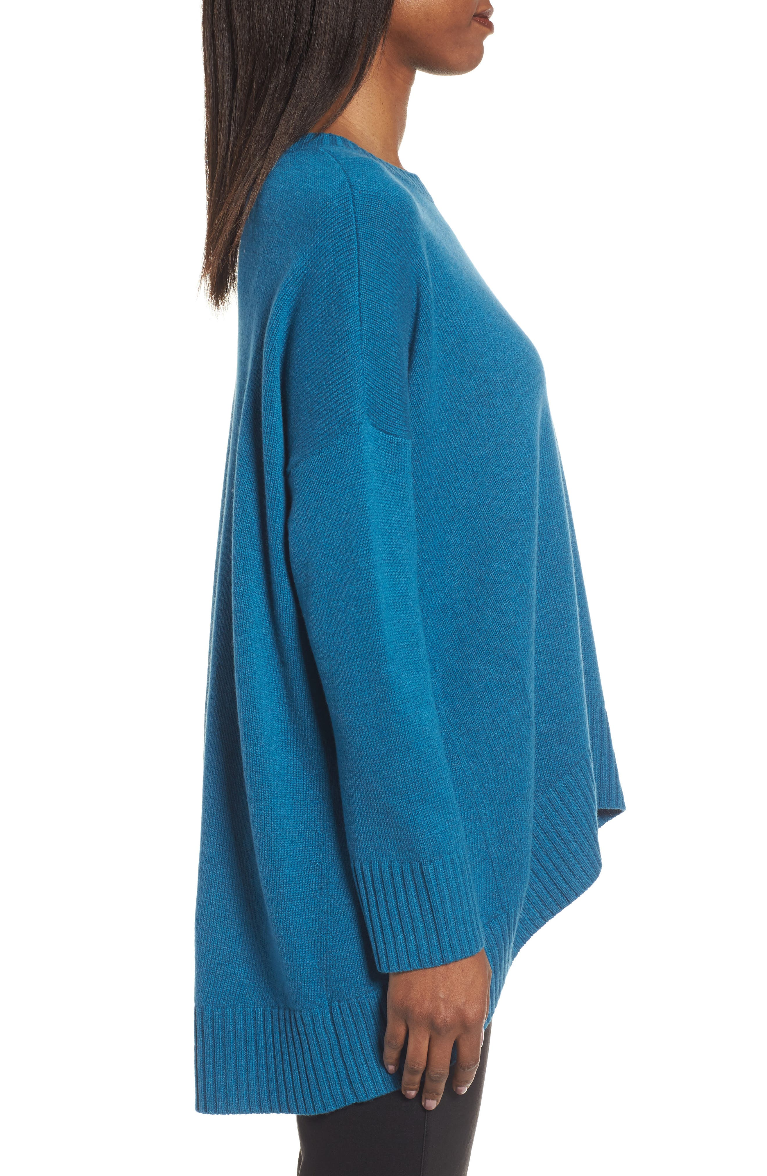 Cashmere & Wool Blend Oversize Sweater,                             Alternate thumbnail 4, color,                             Nile