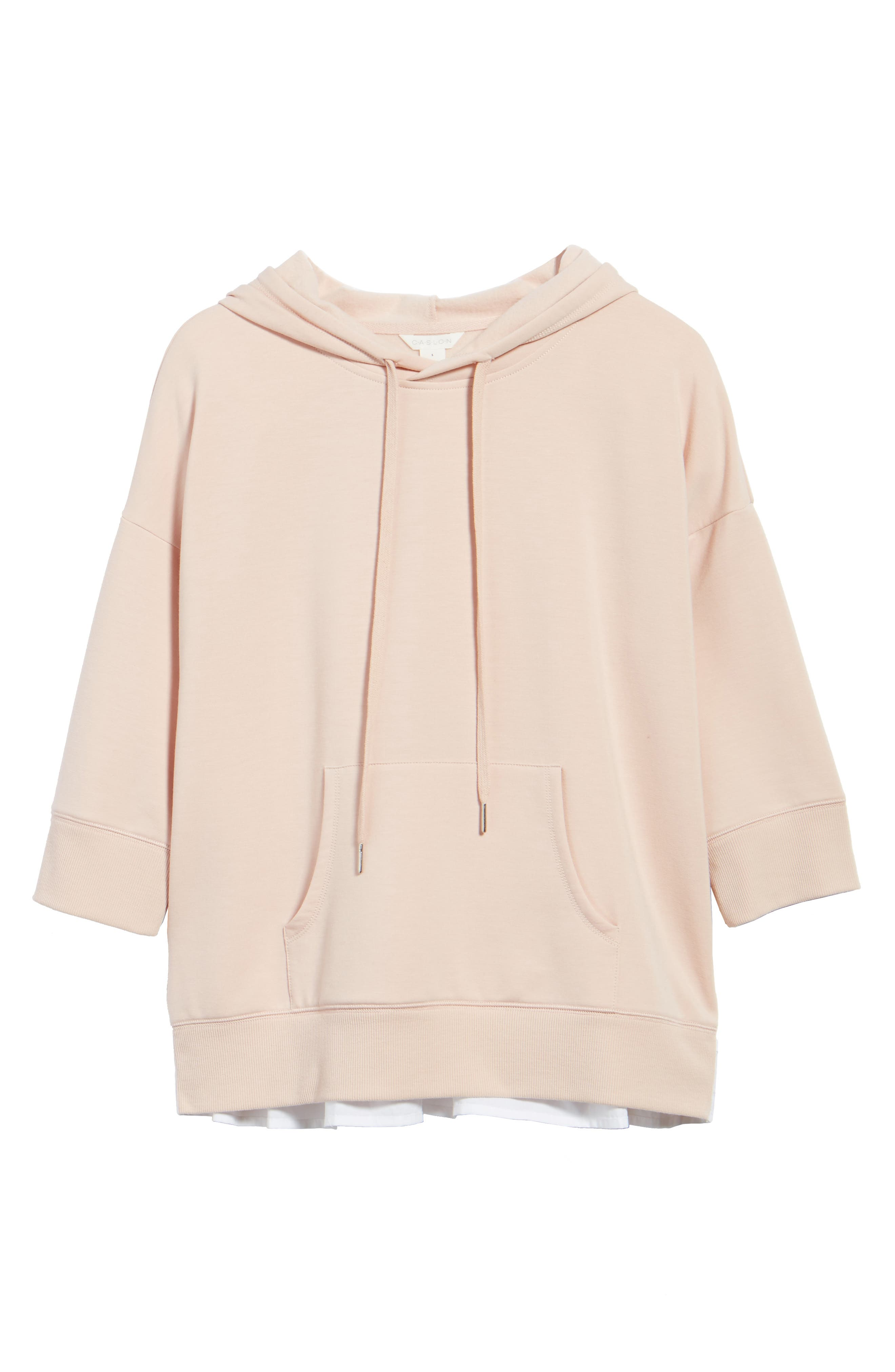 Alternate Image 7  - Caslon® Woven Inset Knit Hoodie (Regular & Petite)