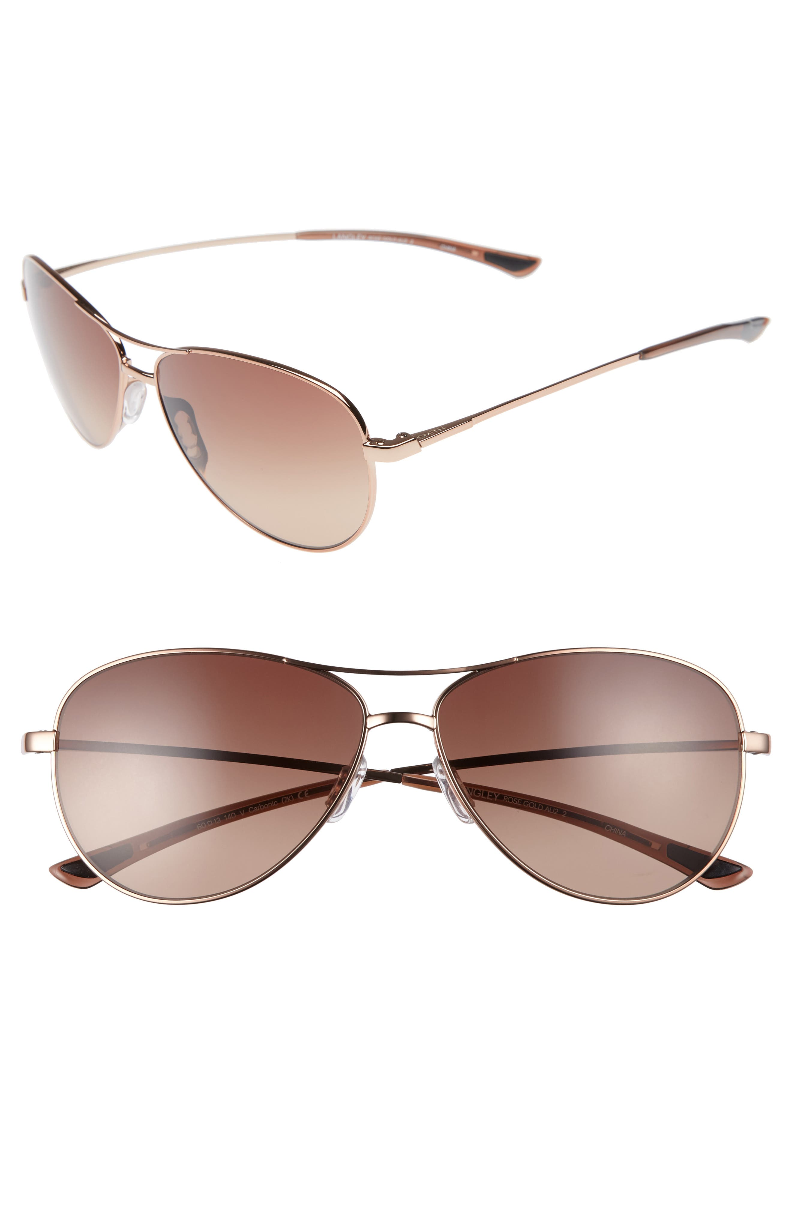'LANGLEY' 60MM AVIATOR SUNGLASSES - ROSE GOLD/ SIENNA