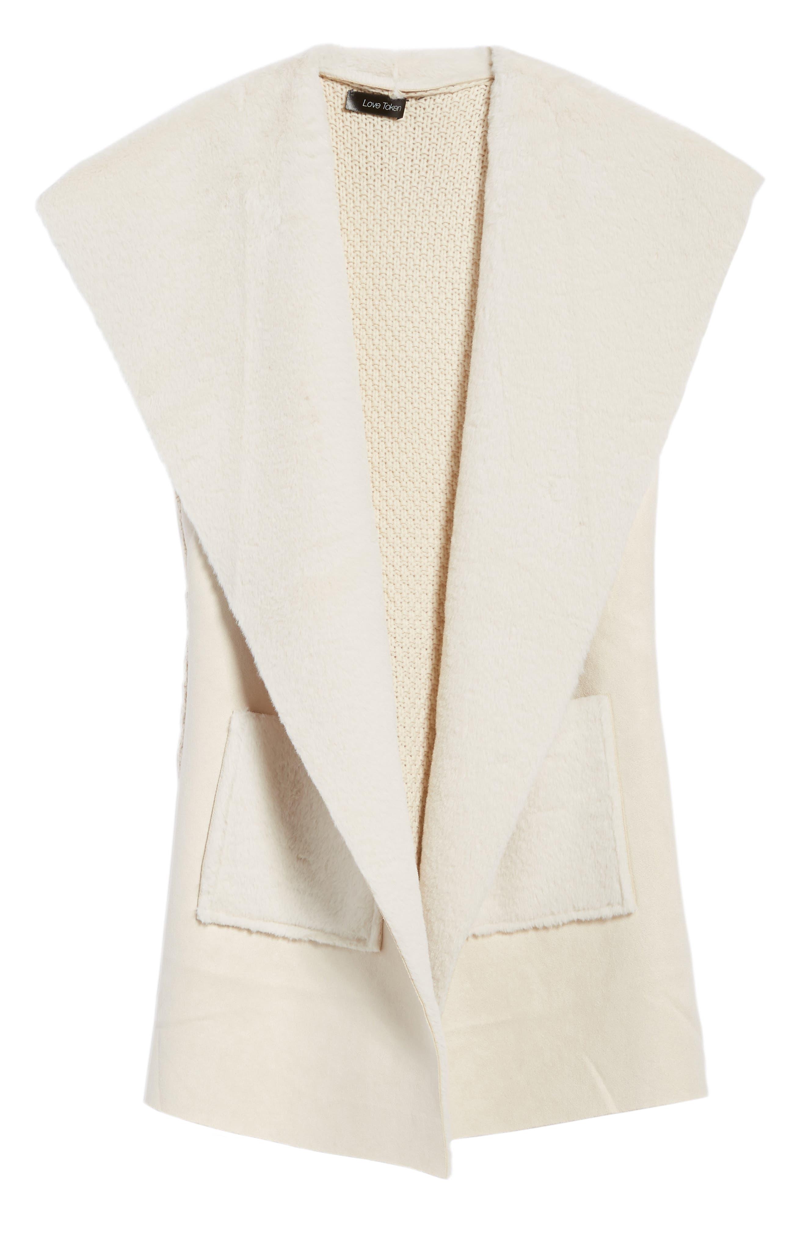 Faux Shearling Vest,                             Alternate thumbnail 6, color,                             Ivory
