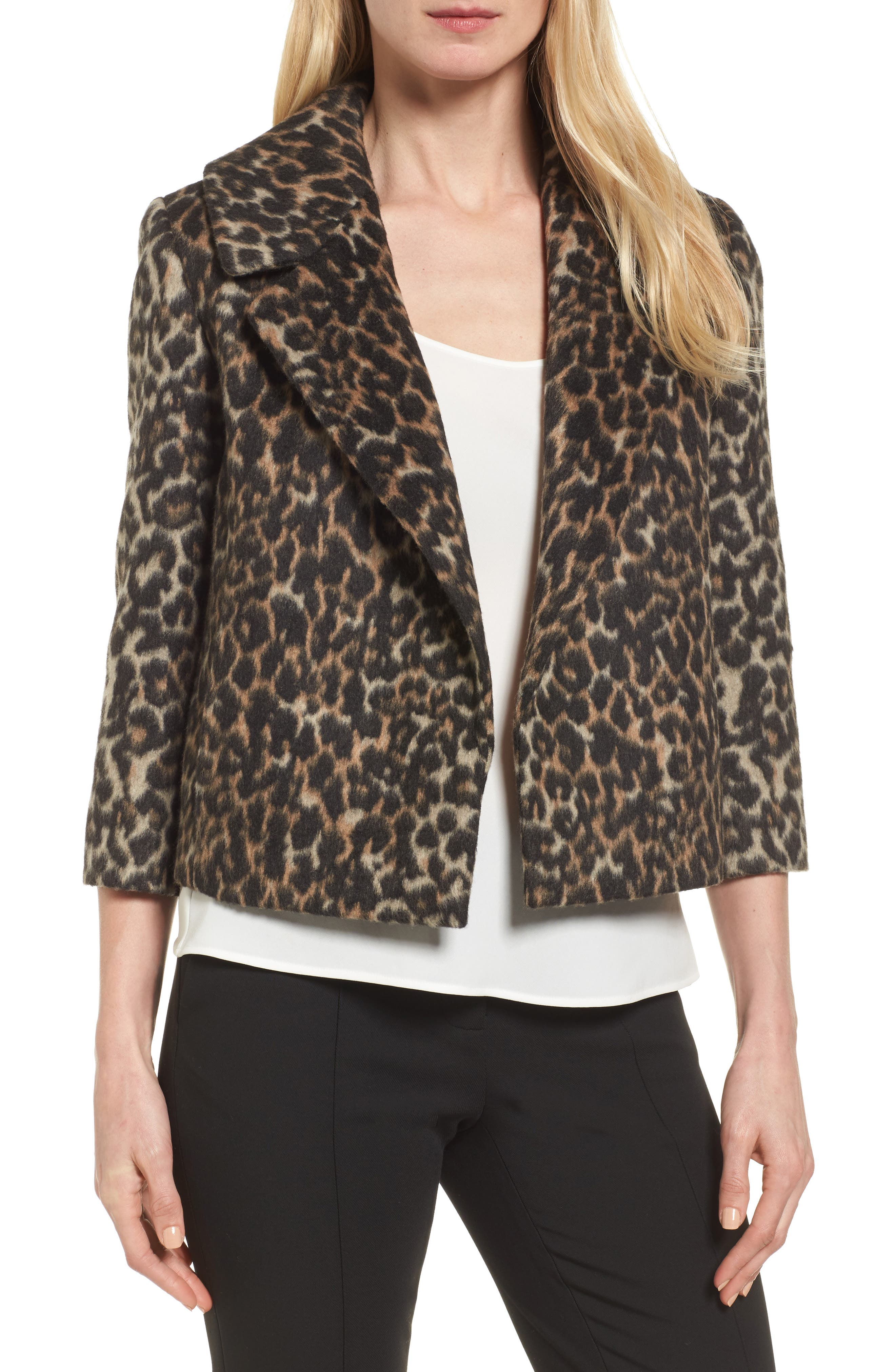 Emerson Rose Leopard Print Faux Fur Jacket