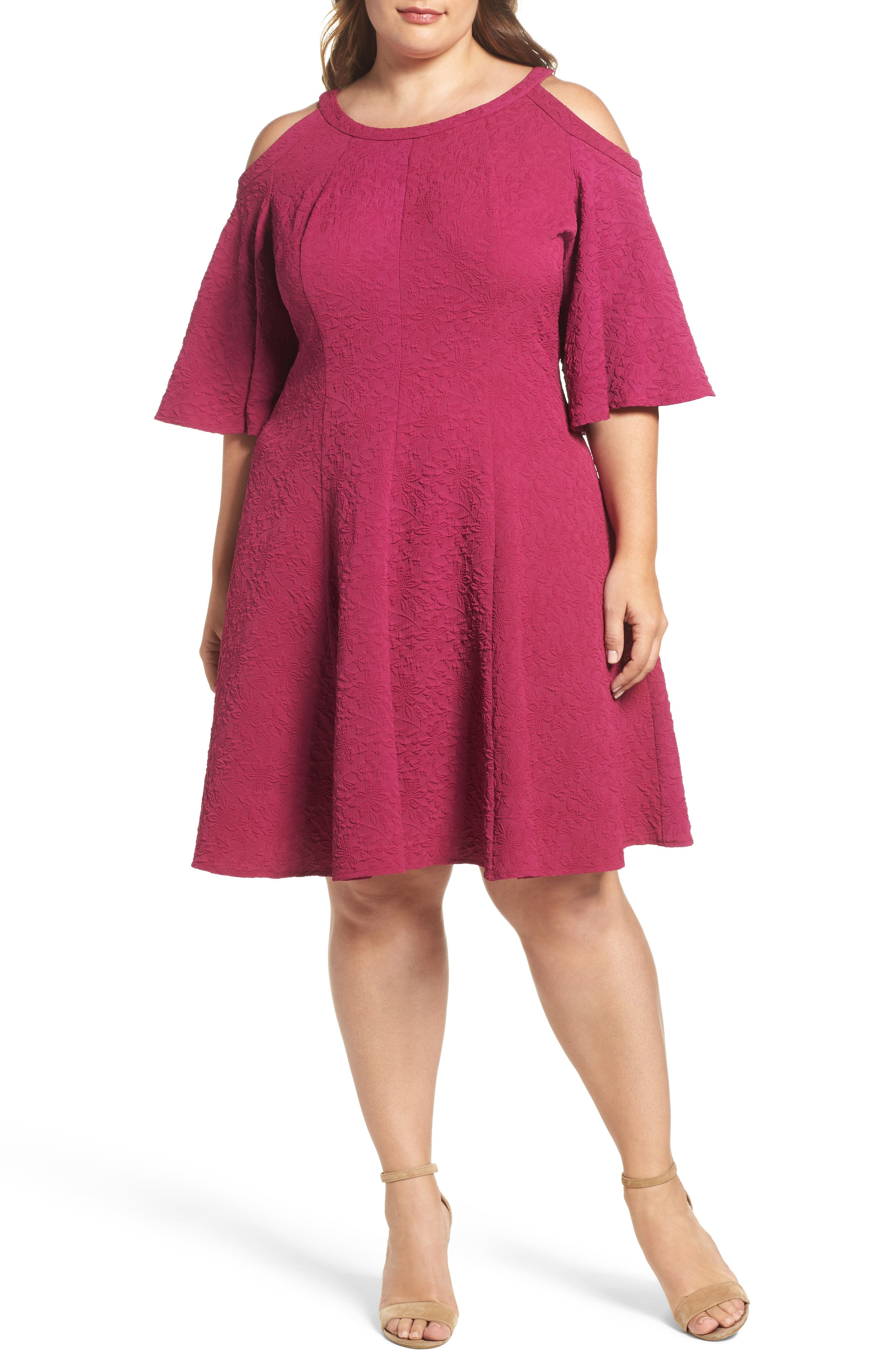 Gabby Skye Cold Shoulder Jacquard Fit & Flare Dress (Plus Size)