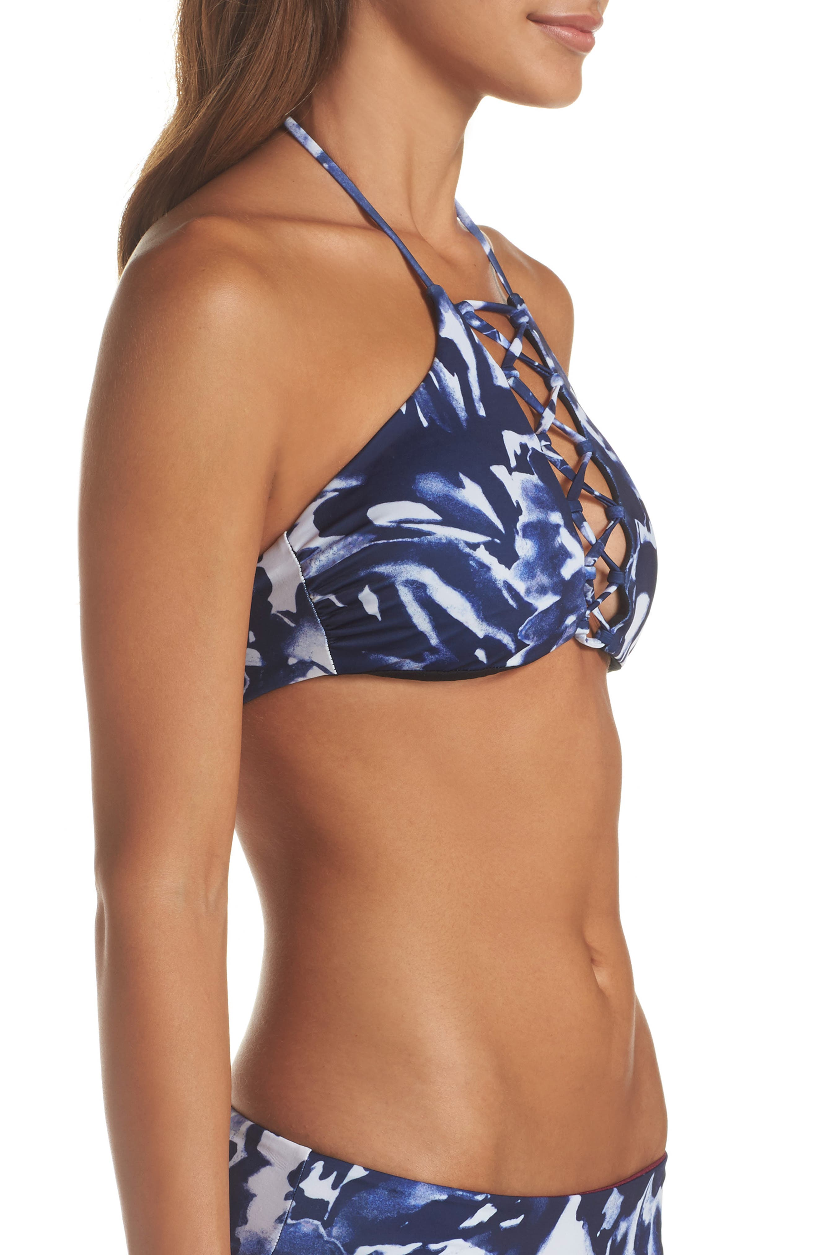 High Neck Bikini Top,                             Alternate thumbnail 2, color,                             Blue Mazarine Floral