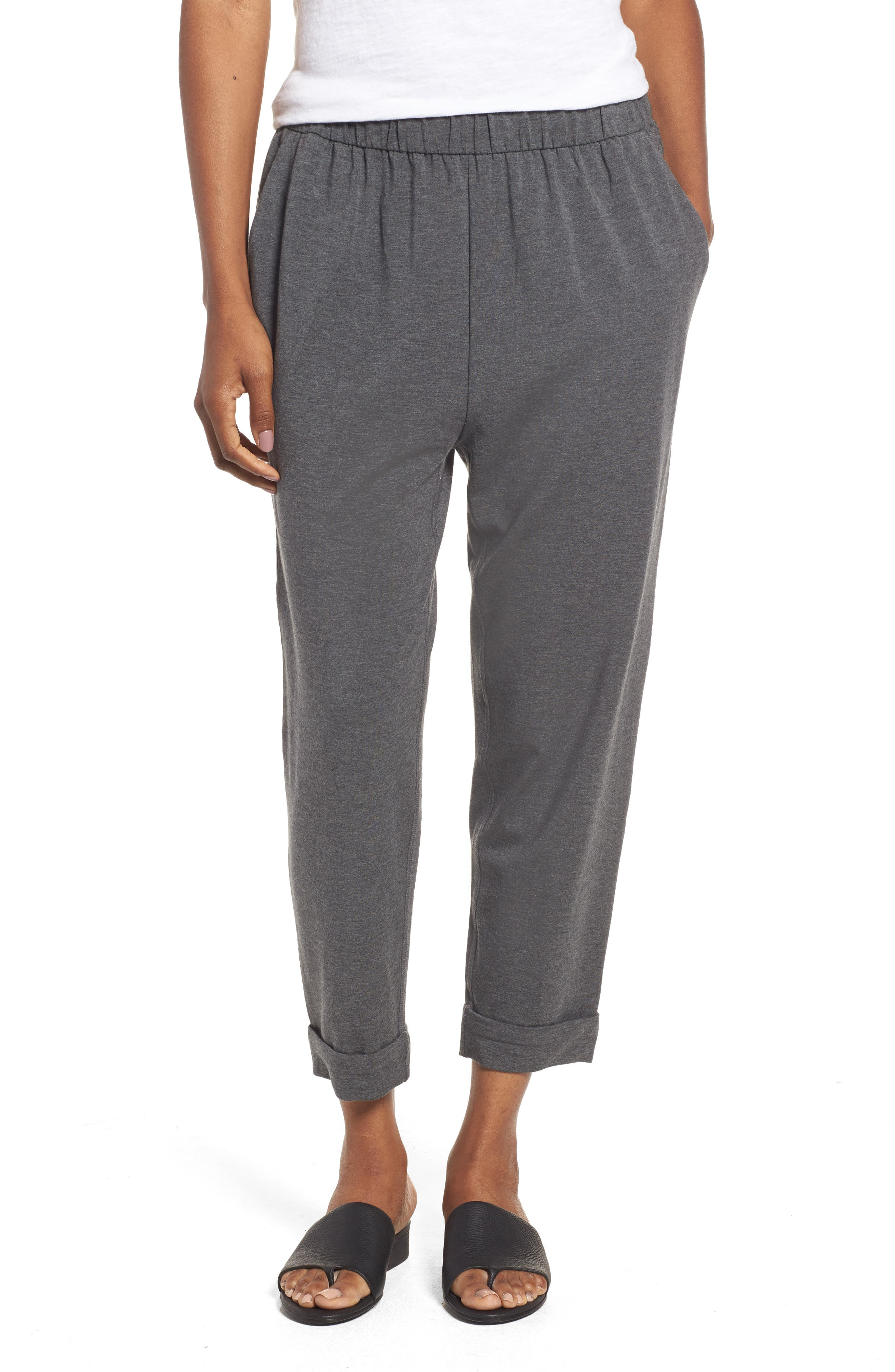 Slouchy Stretch Tencel<sup>®</sup> Pants,                         Main,                         color, Ash