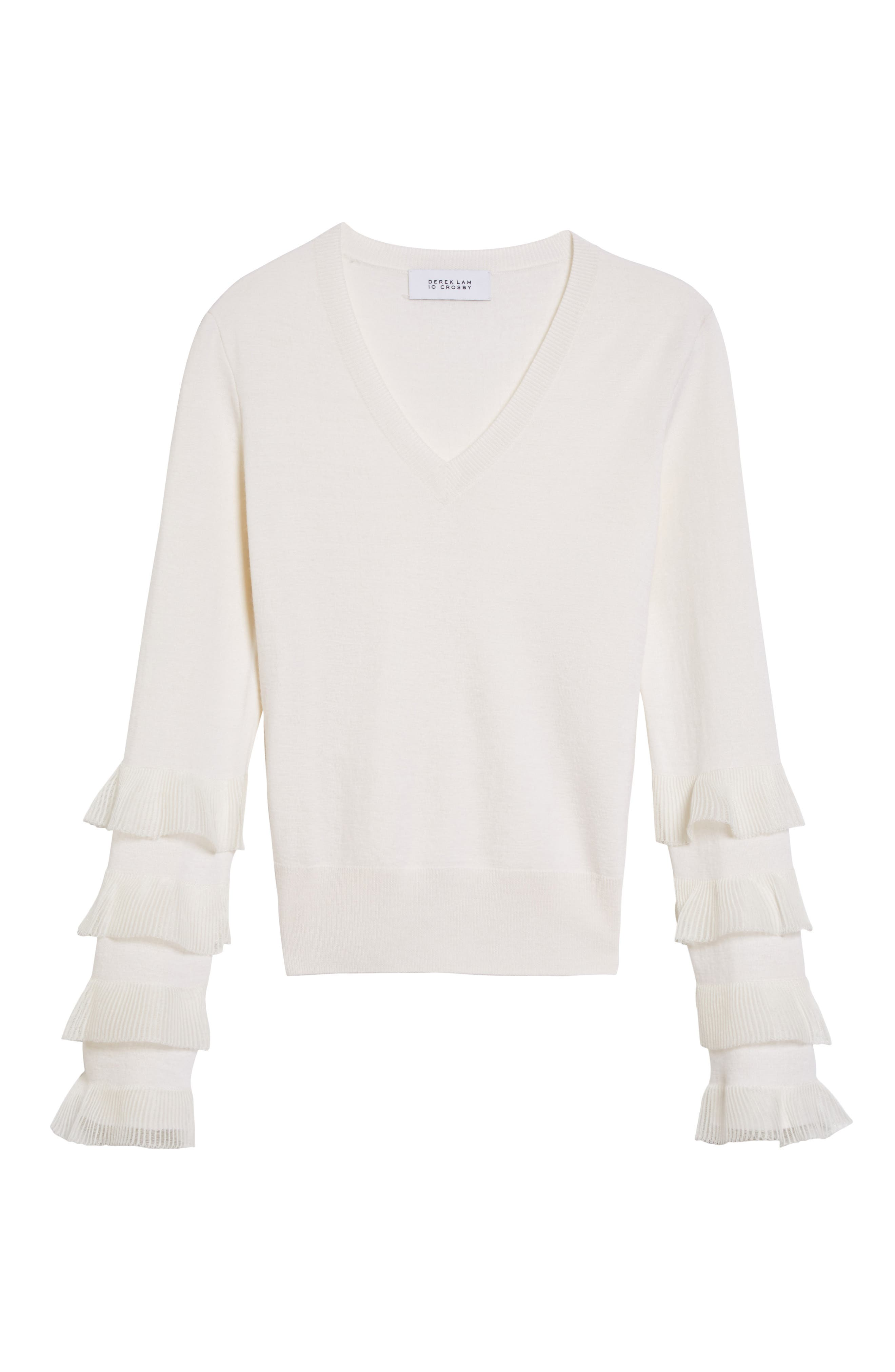 Tiered Ruffle Sleeve Sweater,                             Alternate thumbnail 6, color,                             White