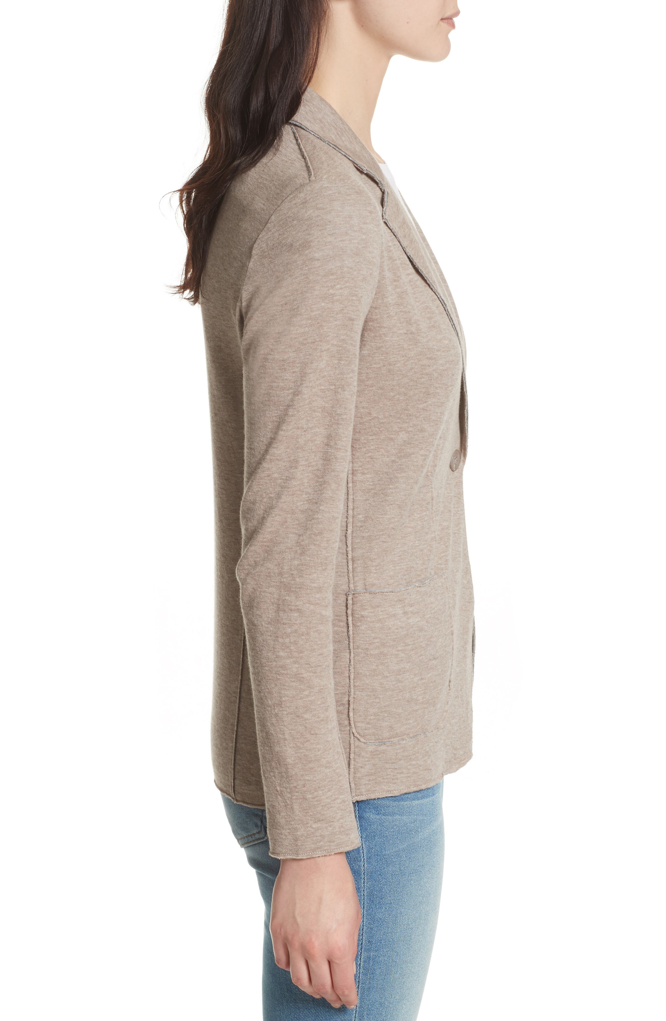 One-Button Cotton & Cashmere Blazer,                             Alternate thumbnail 3, color,                             Beige/ Grey
